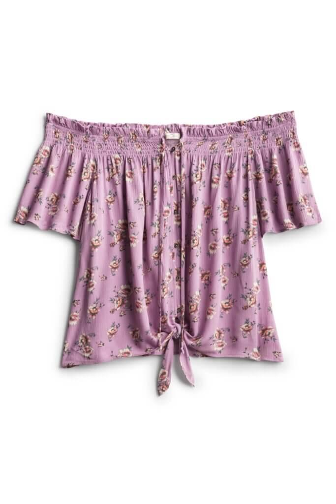 Stitch Fix Women's purple floral off-the-shoulder top.