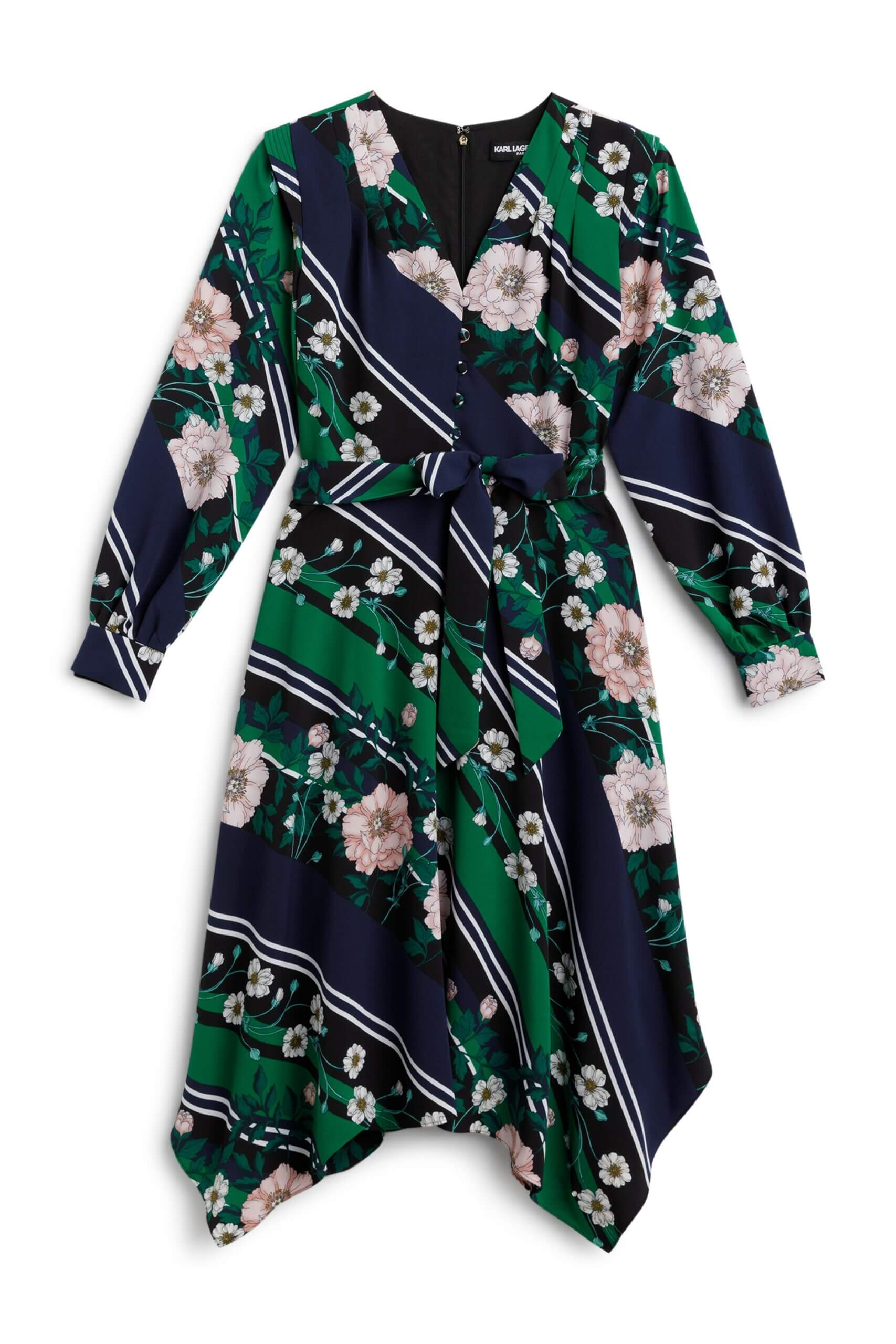 Stitch Fix Women's navy tie-waist dress with floral pattern and green stripes. .