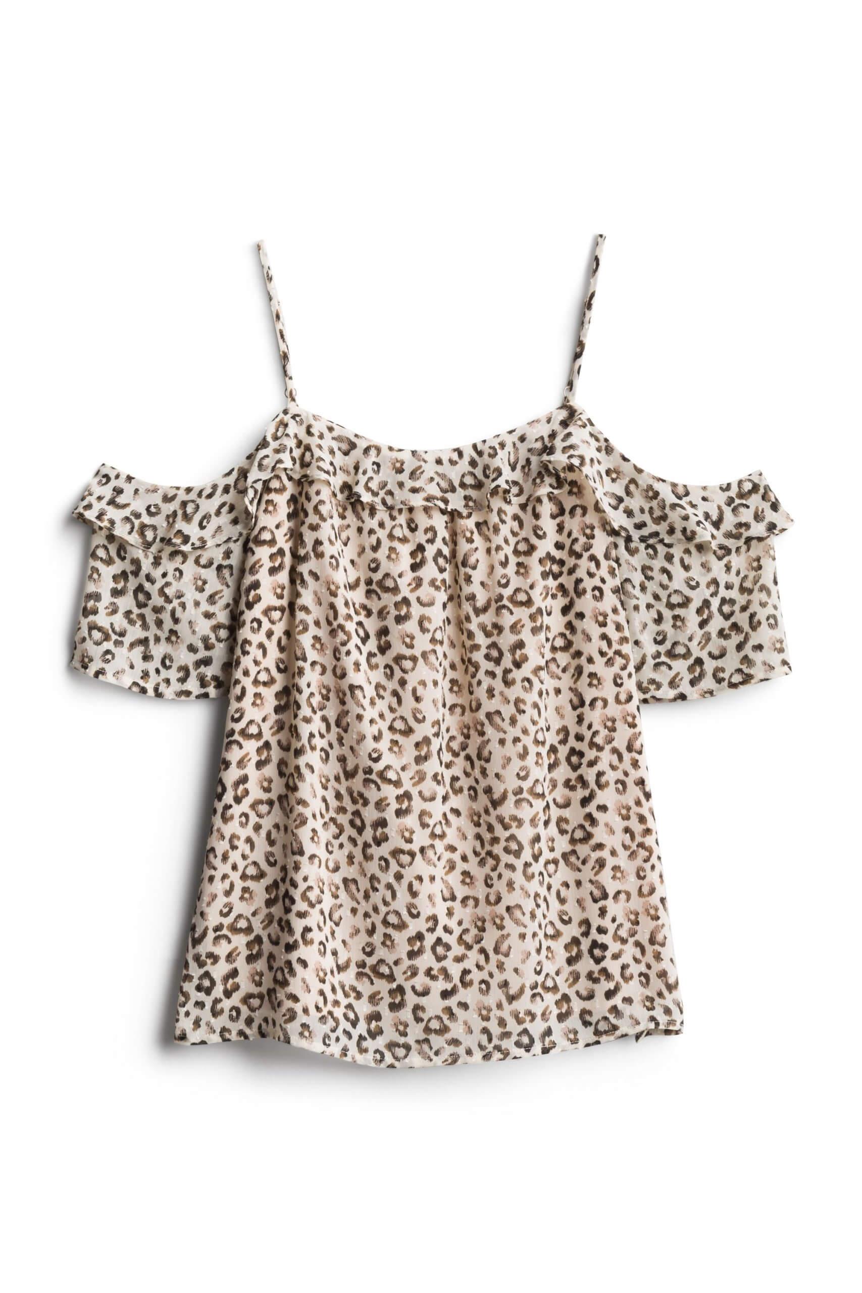 Stitch Fix Women's tan animal-print cold shoulder top.
