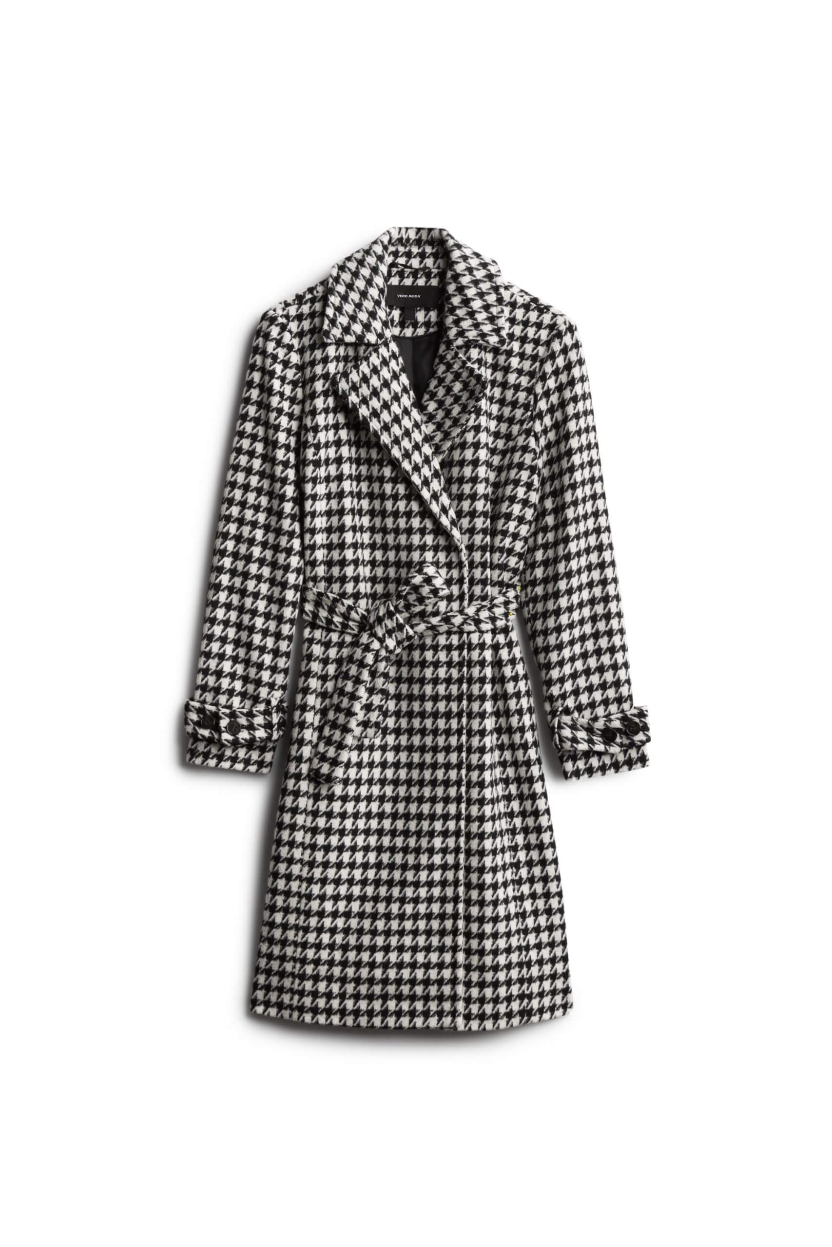 Stitch Fix Women's black and white houndstooth trench coat.