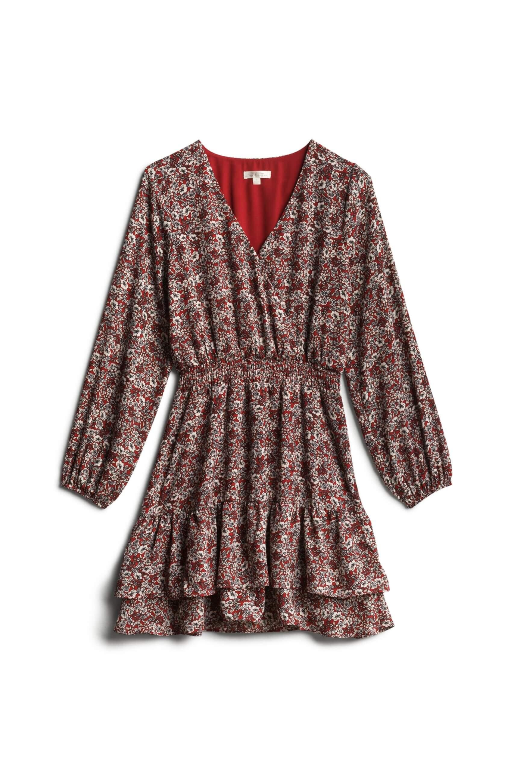 Stitch Fix women's burgundy boho tiered dress with dainty floral print.