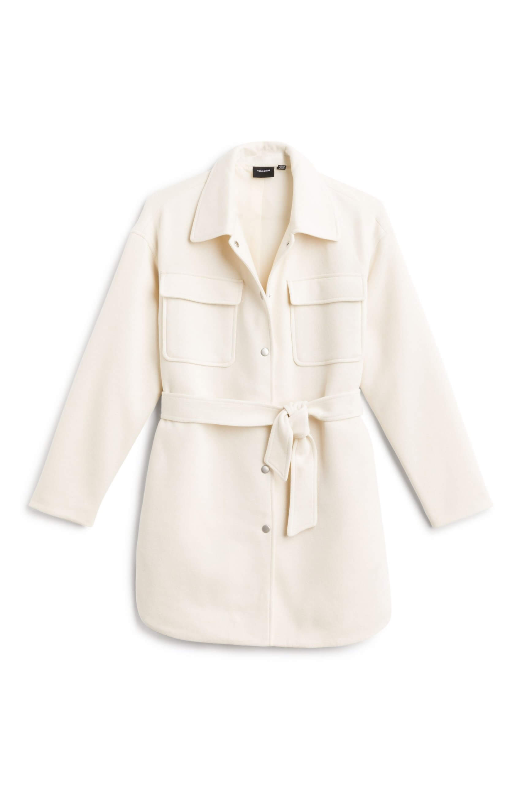 Stitch Fix Women's cream tie-waist coat.