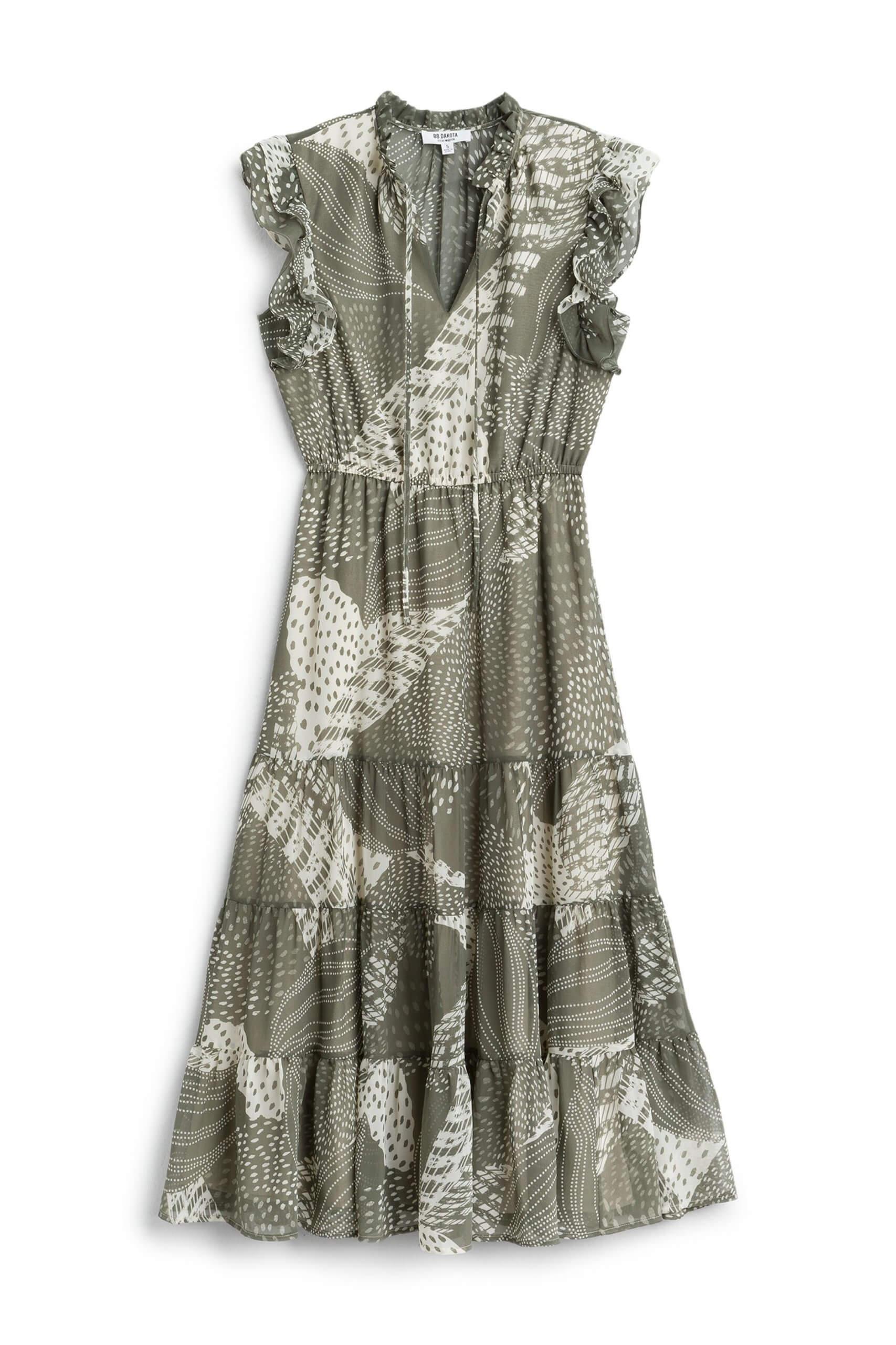 Stitch Fix women's olive patterned midi dress.