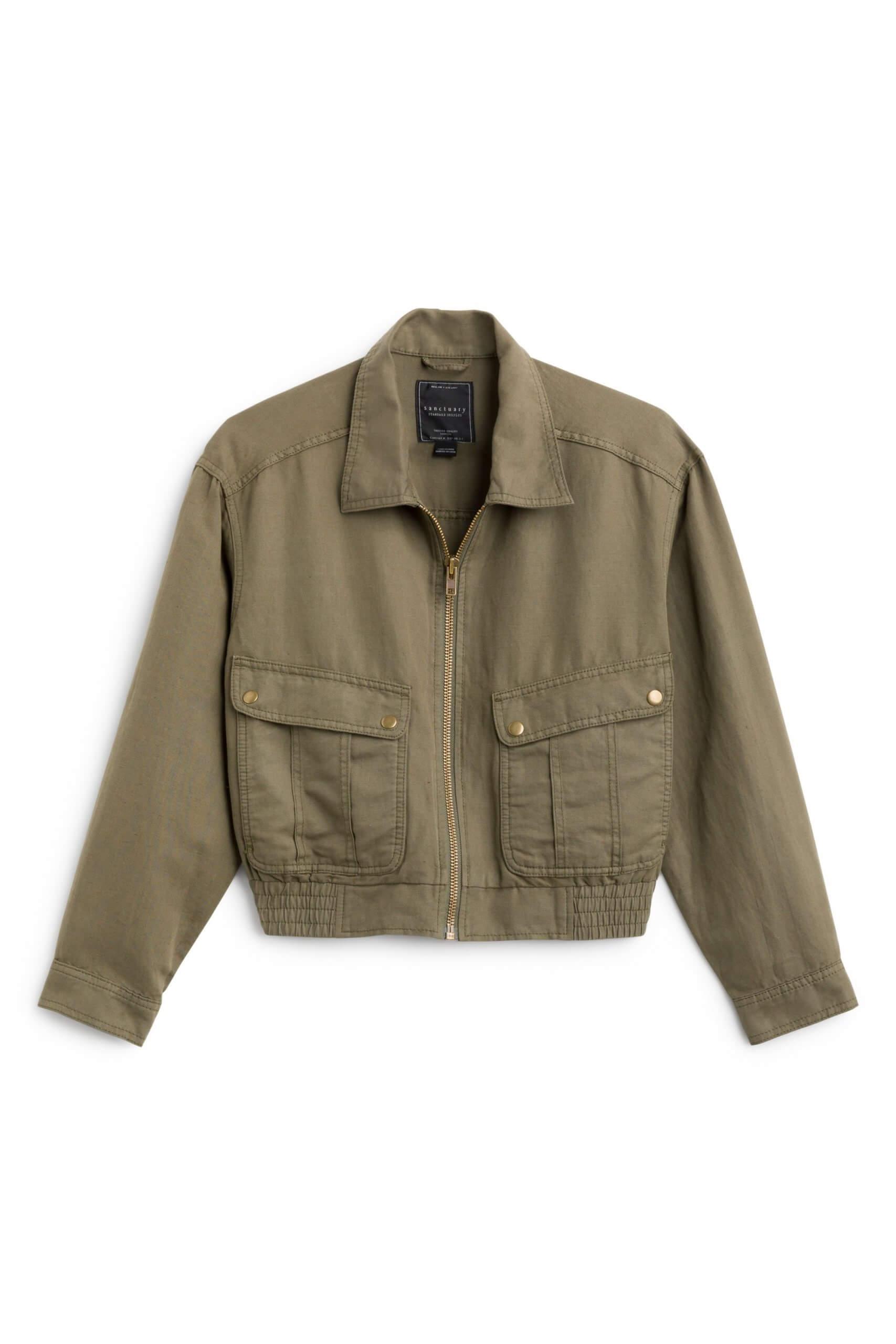 Stitch Fix Women's olive green utility jacket.