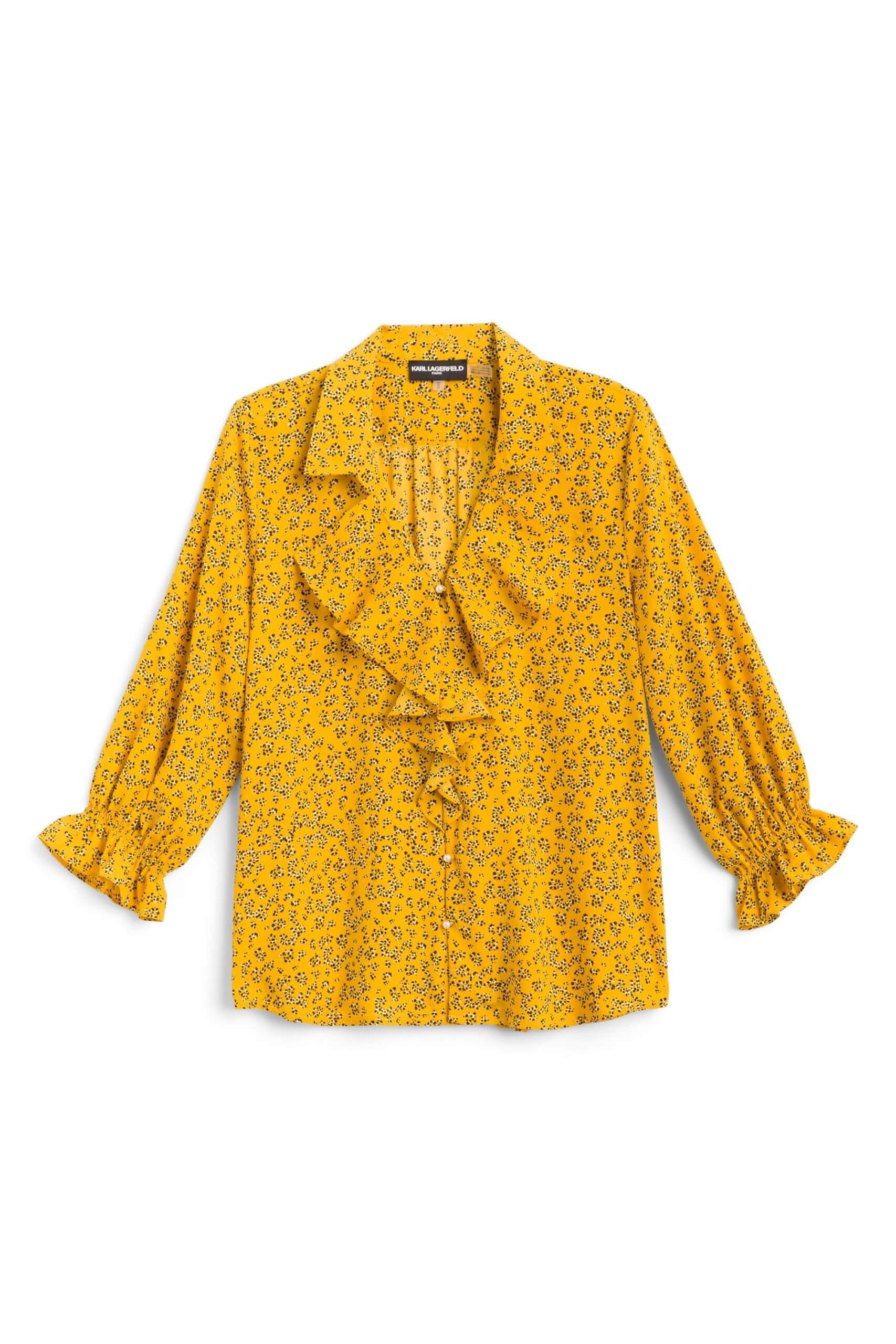 Stitch Fix Women's yellow ruffle neck blouse.