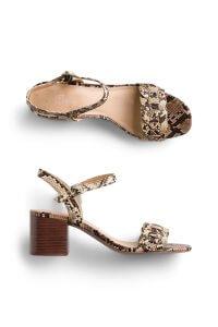 Stitch Fix Women's tan snakeskin block heels.