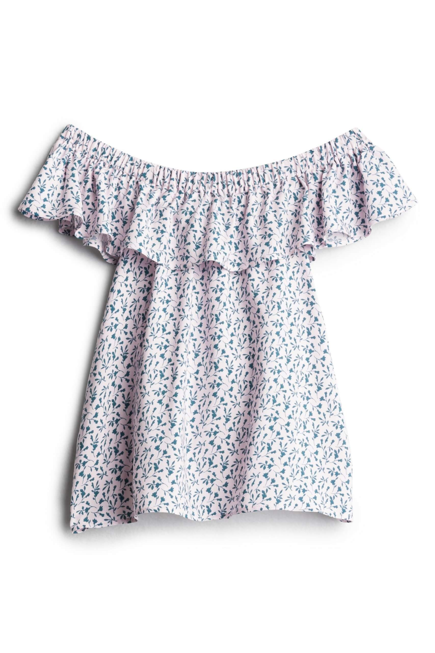 Stitch Fix Women's light pink off-the-shoulder ruffle top with blue florals.