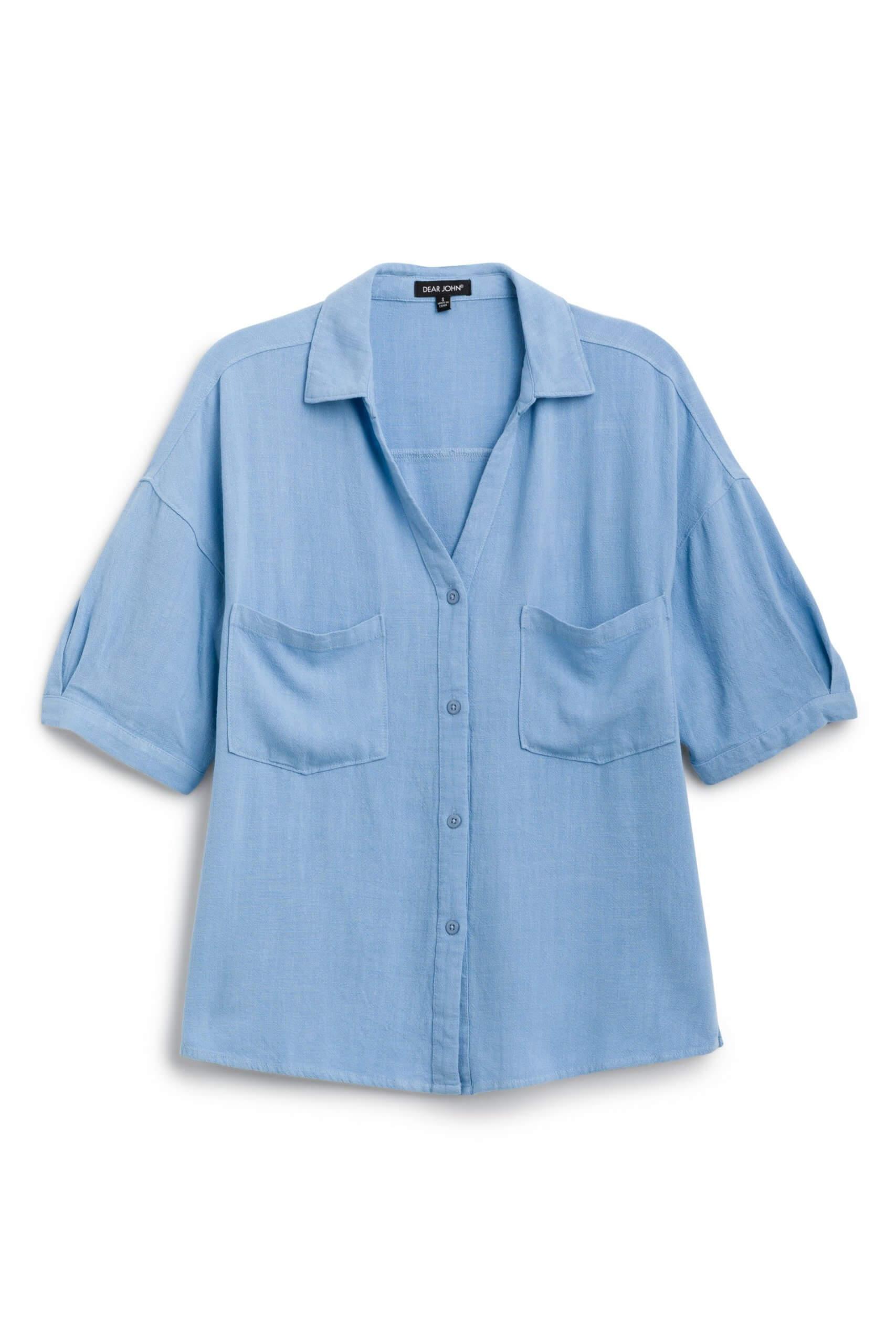Stitch Fix Women's blue button-down shirt.