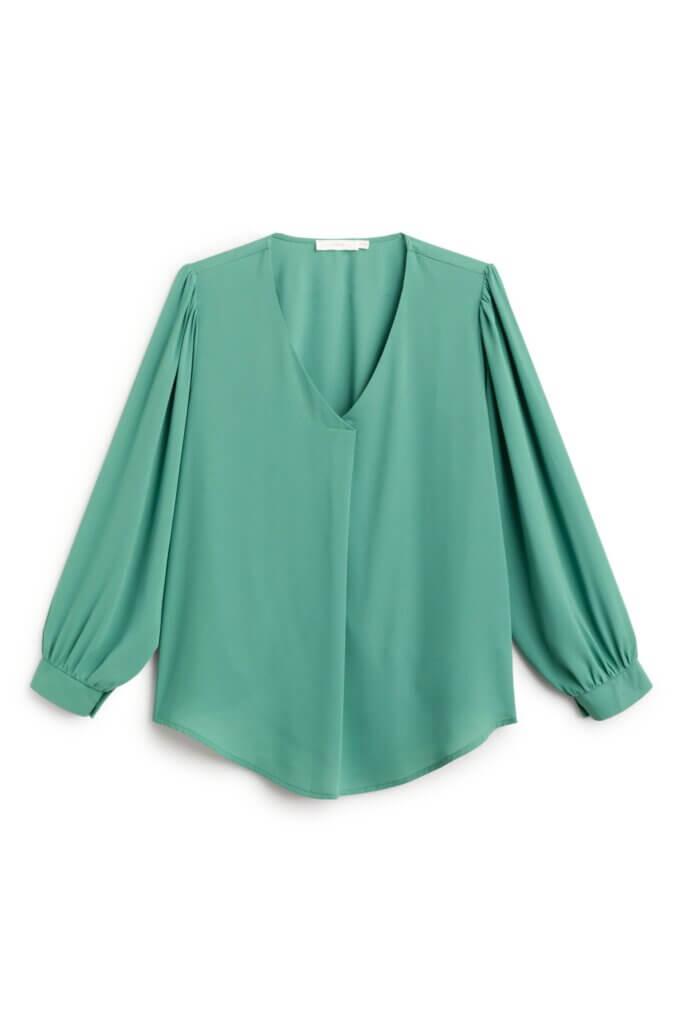 Stitch Fix Women's green v-neck blouse.