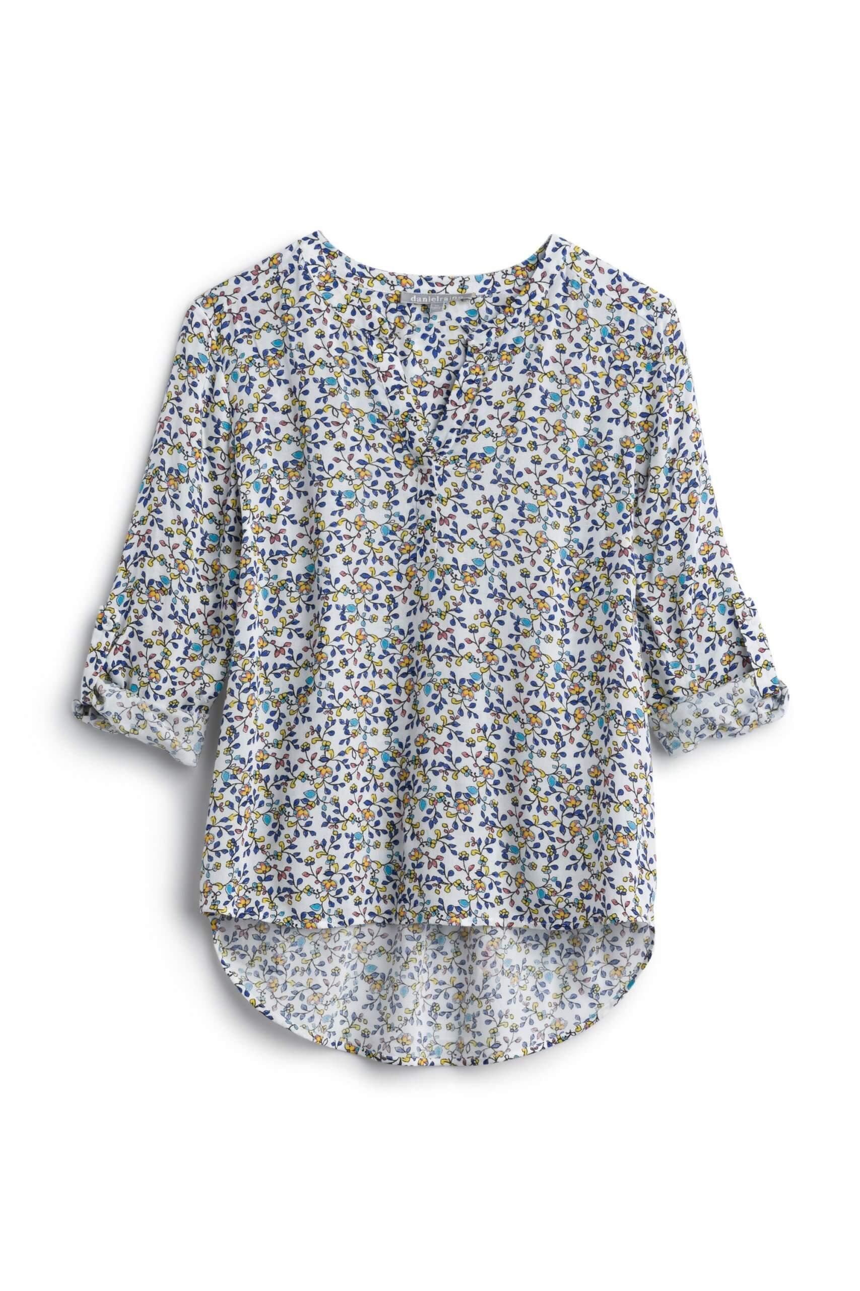 Stitch Fix Women's white three-quarter sleeve floral blouse.