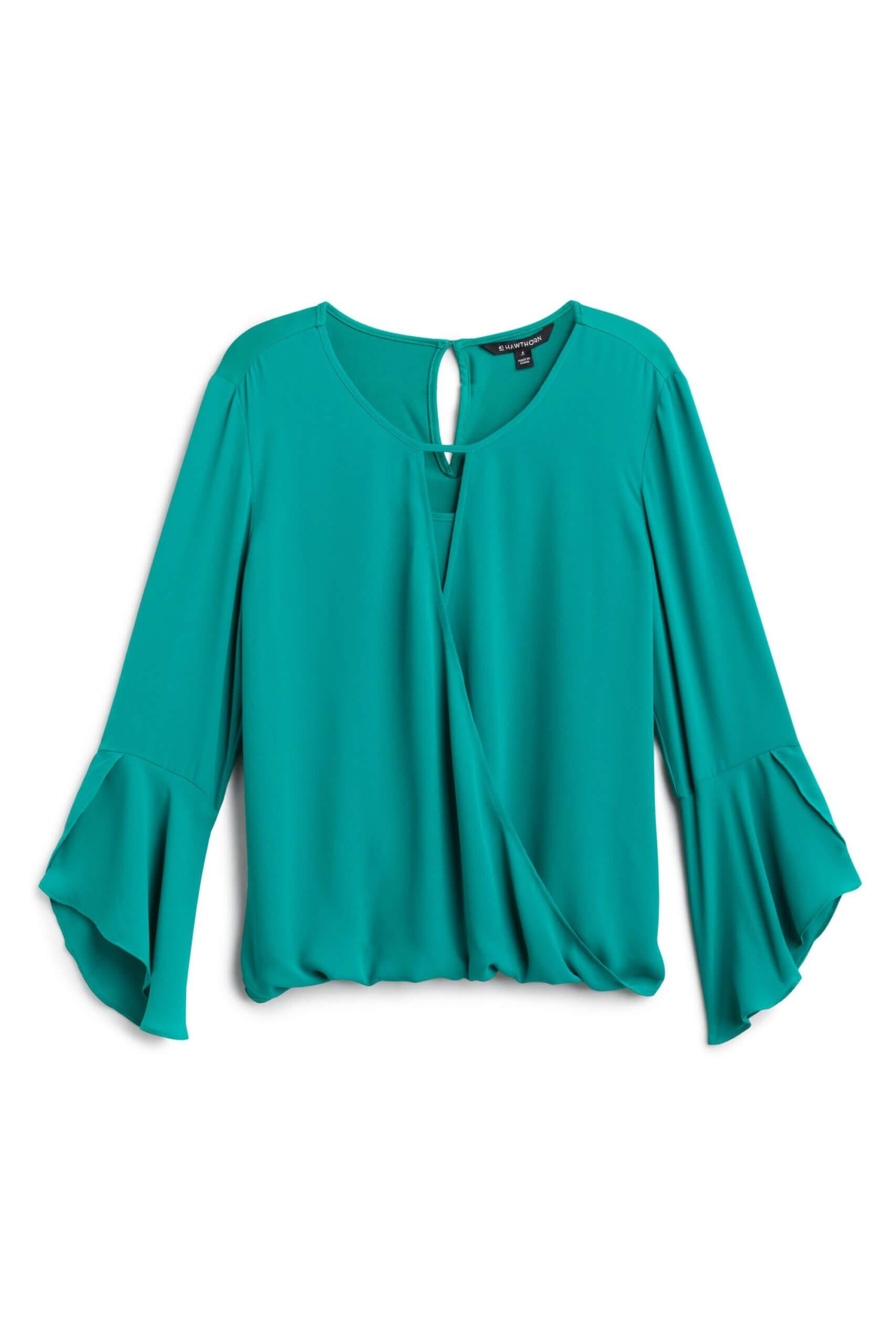 Stitch Fix women's green bell sleeve blouse.