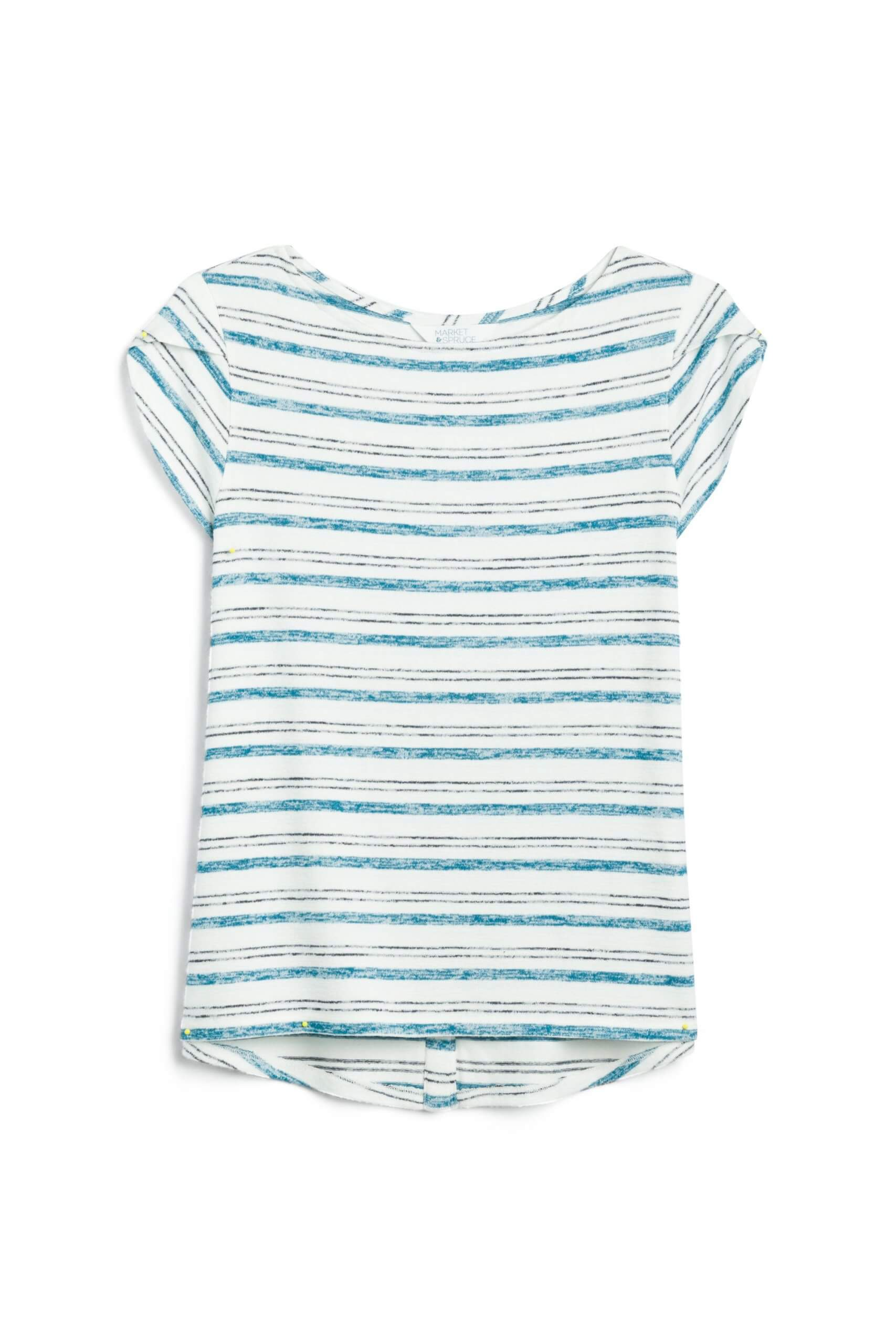 Stitch Fix Women's white and teal striped shirt.