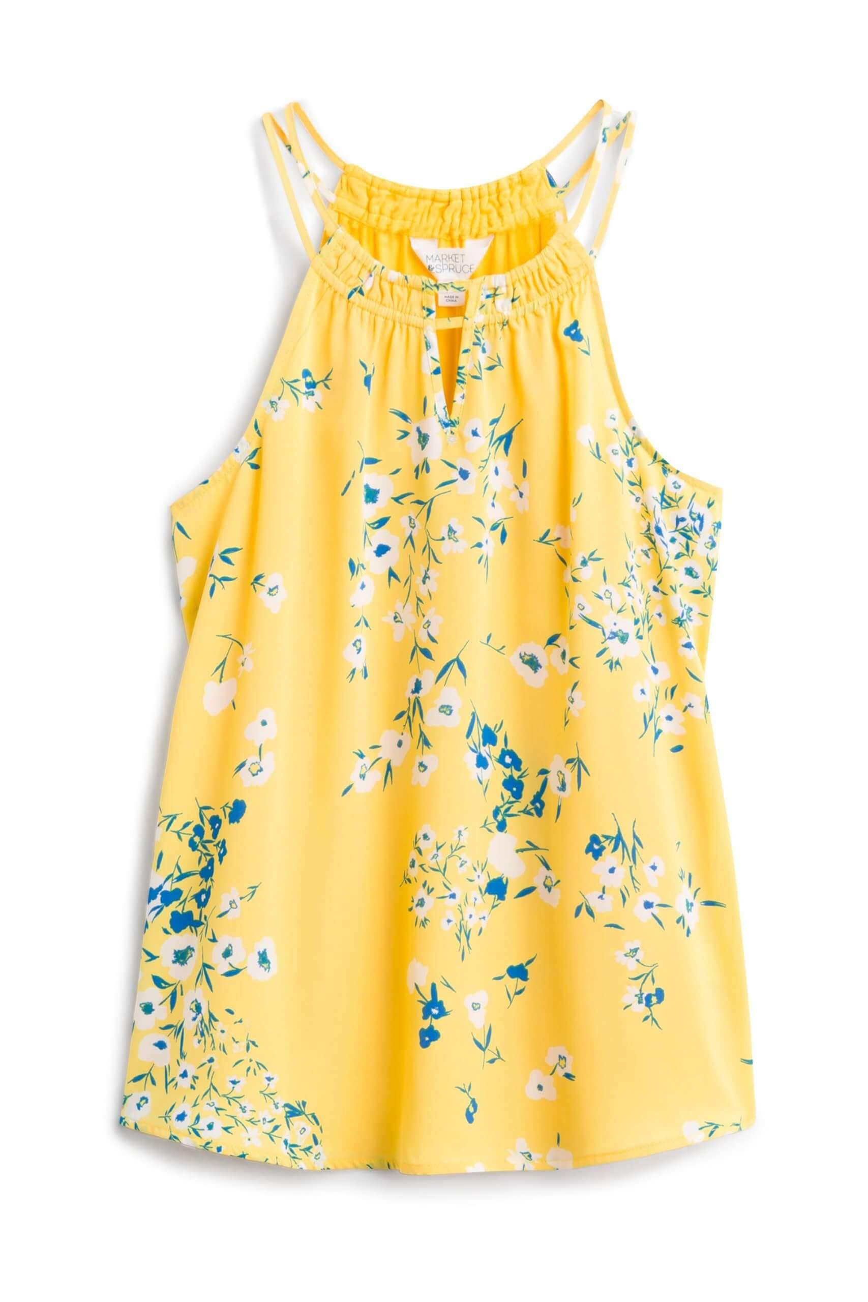 Stitch Fix Women's yellow floral halter tank top.