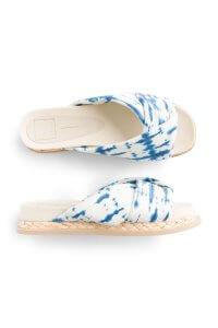 Stitch Fix Women's white and blue slide sandals.