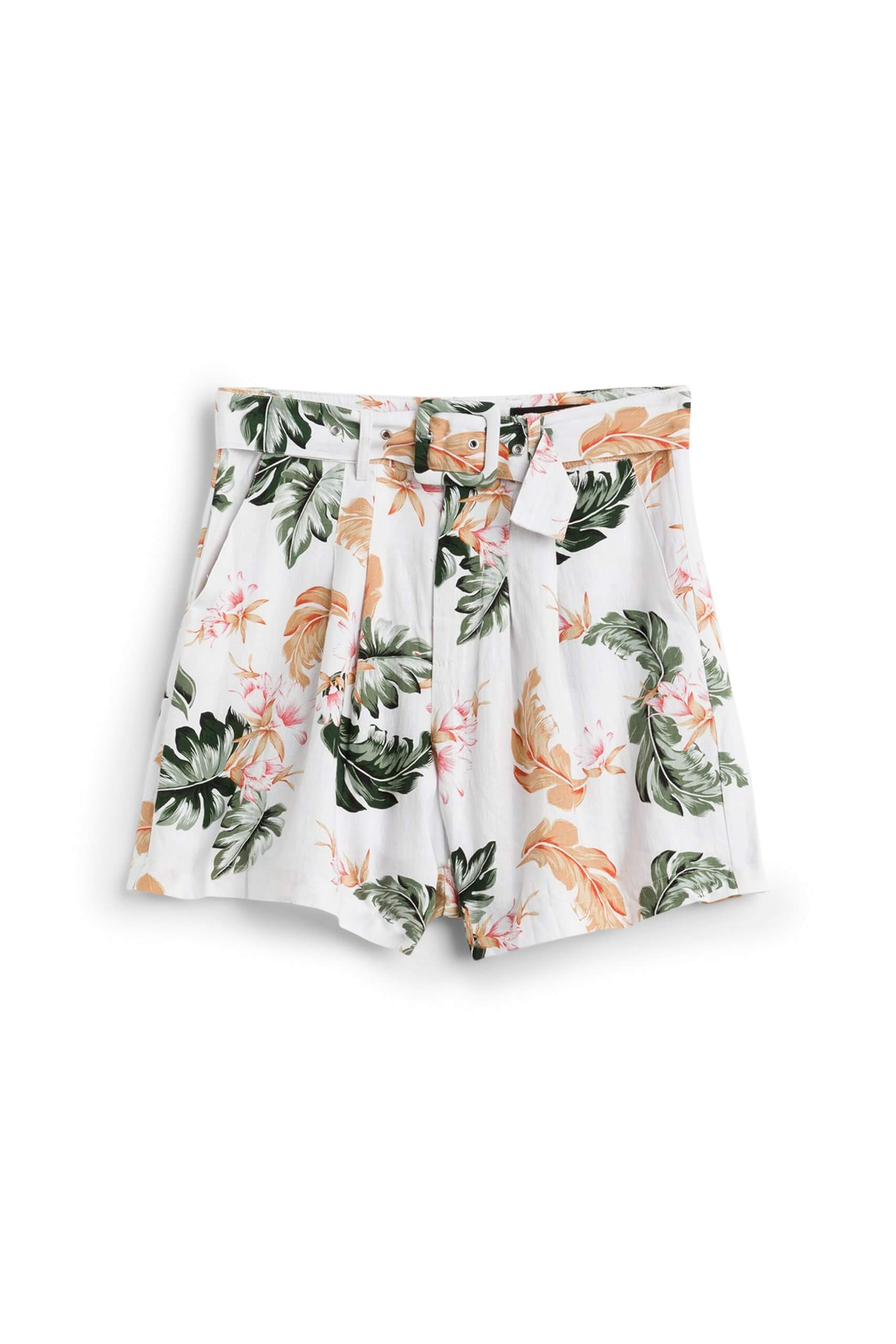 Stitch Fix Women's white, olive and orange tropical floral print shorts with belted waist.