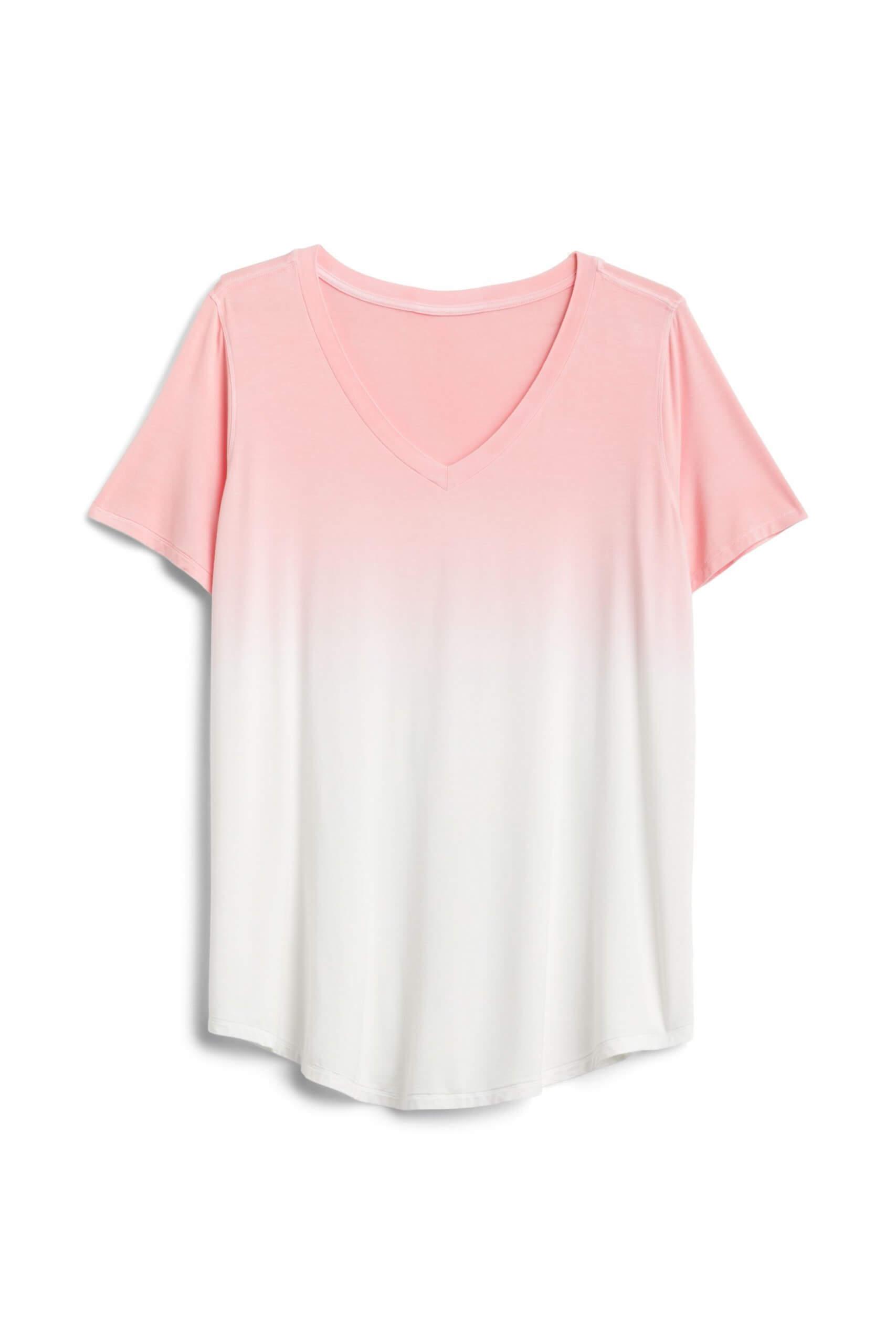 Stitch Fix Women's pink and white dip-dye t-shirt with v-neckline.