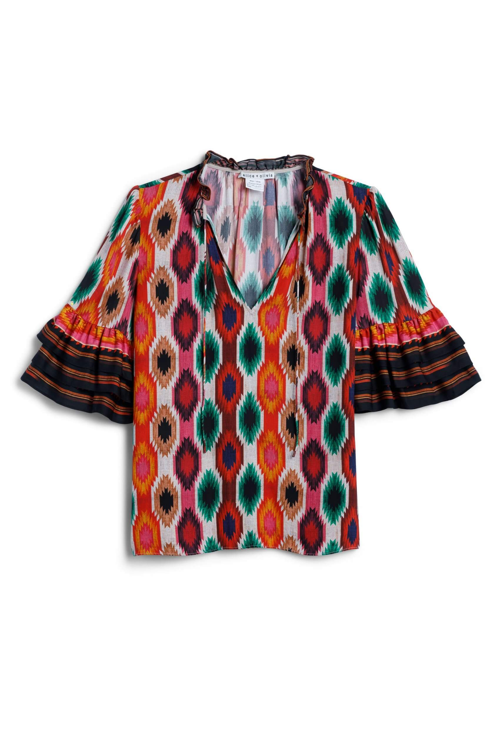 Stitch Fix Women's orange and purple printed blouse with tiered sleeves.