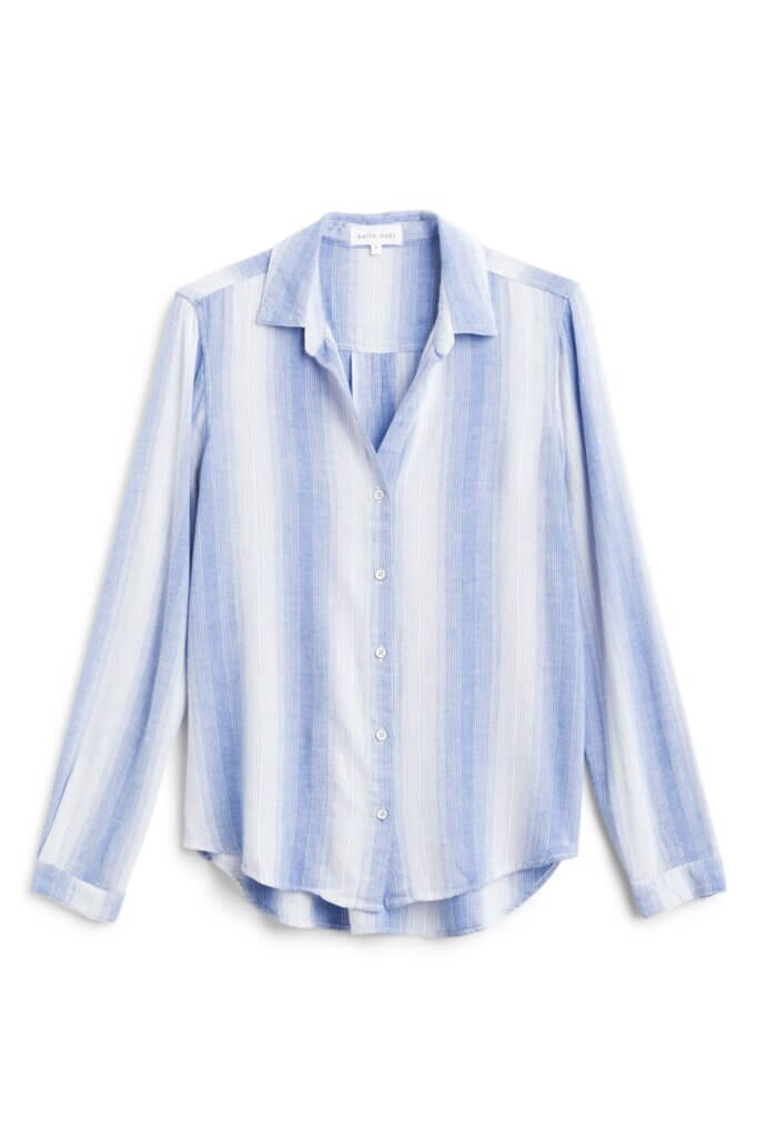 Stitch Fix Women's white button-up shirt with blue stripes.