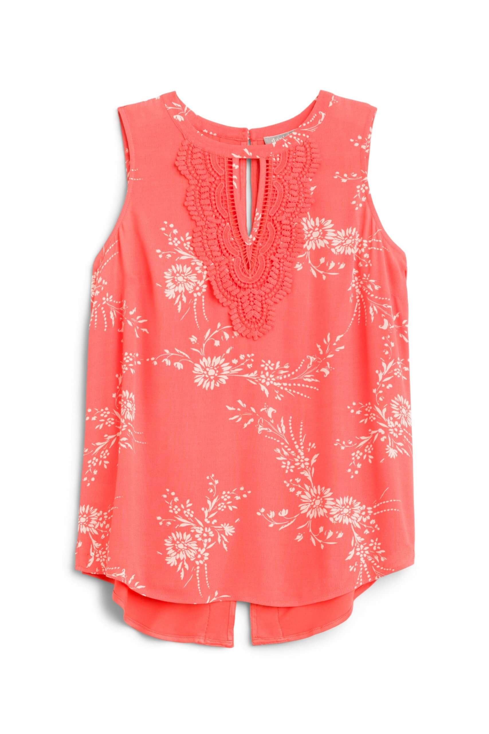Stitch Fix Women's sleeveless coral floral print blouse with keyhole.