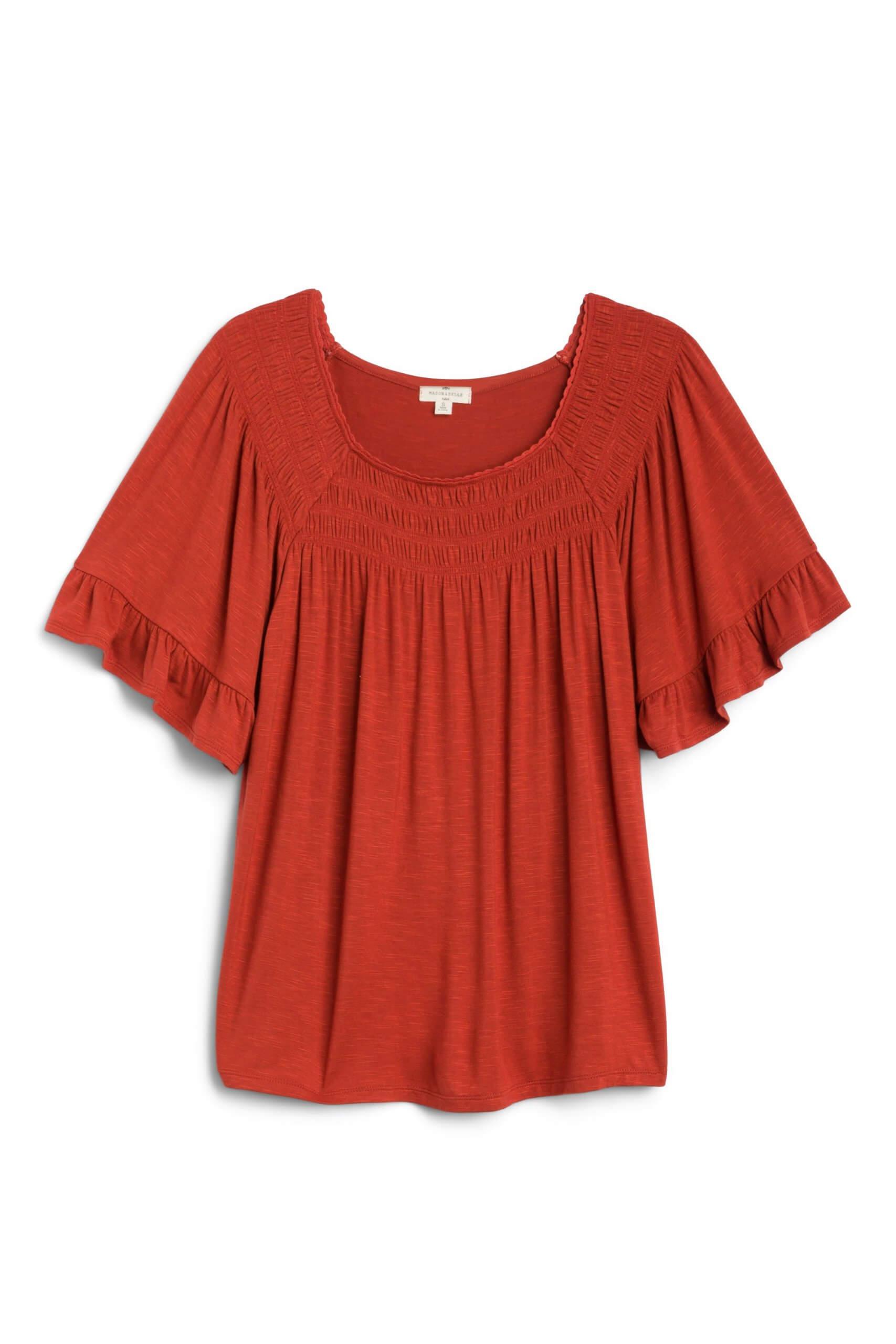 Stitch Fix Women's orange flutter sleeve top.
