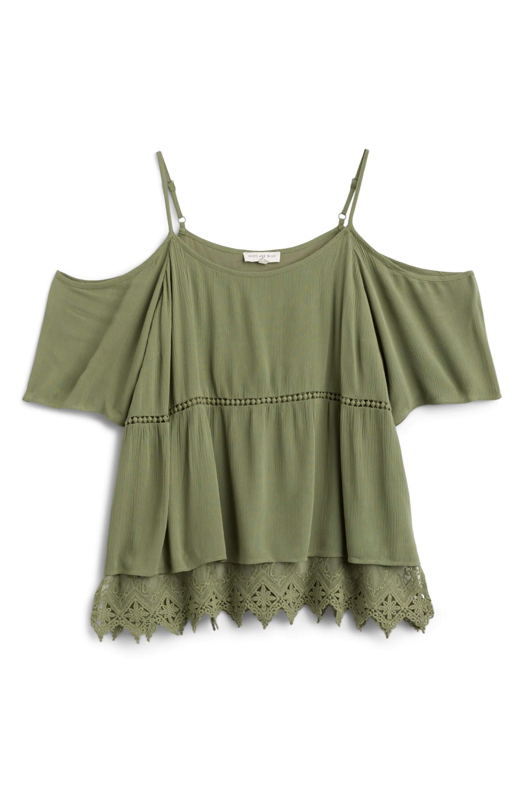 Stitch Fix Women's olive green cold shoulder top.