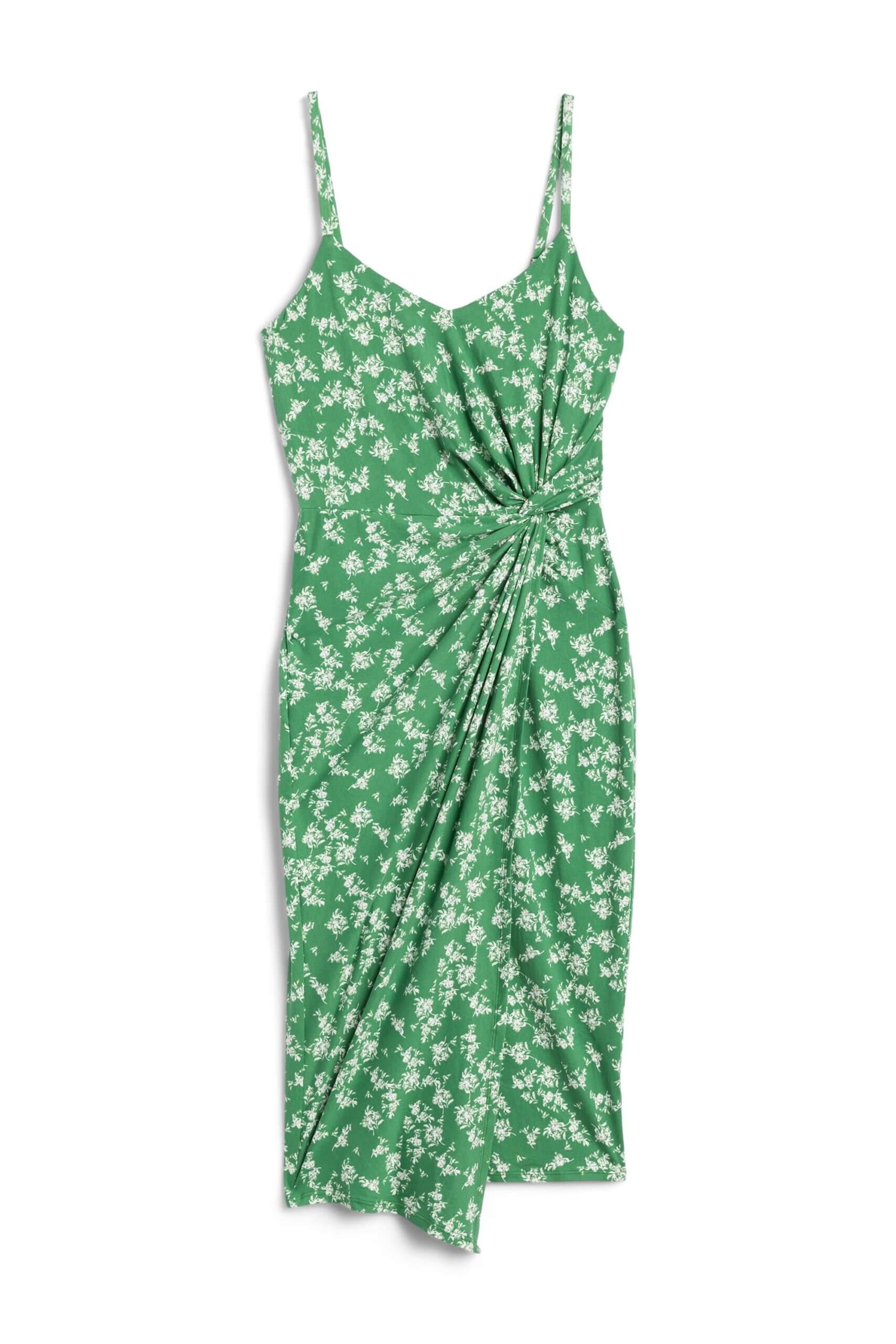 Stitch Fix women's green midi dress with dainty white floral pattern.