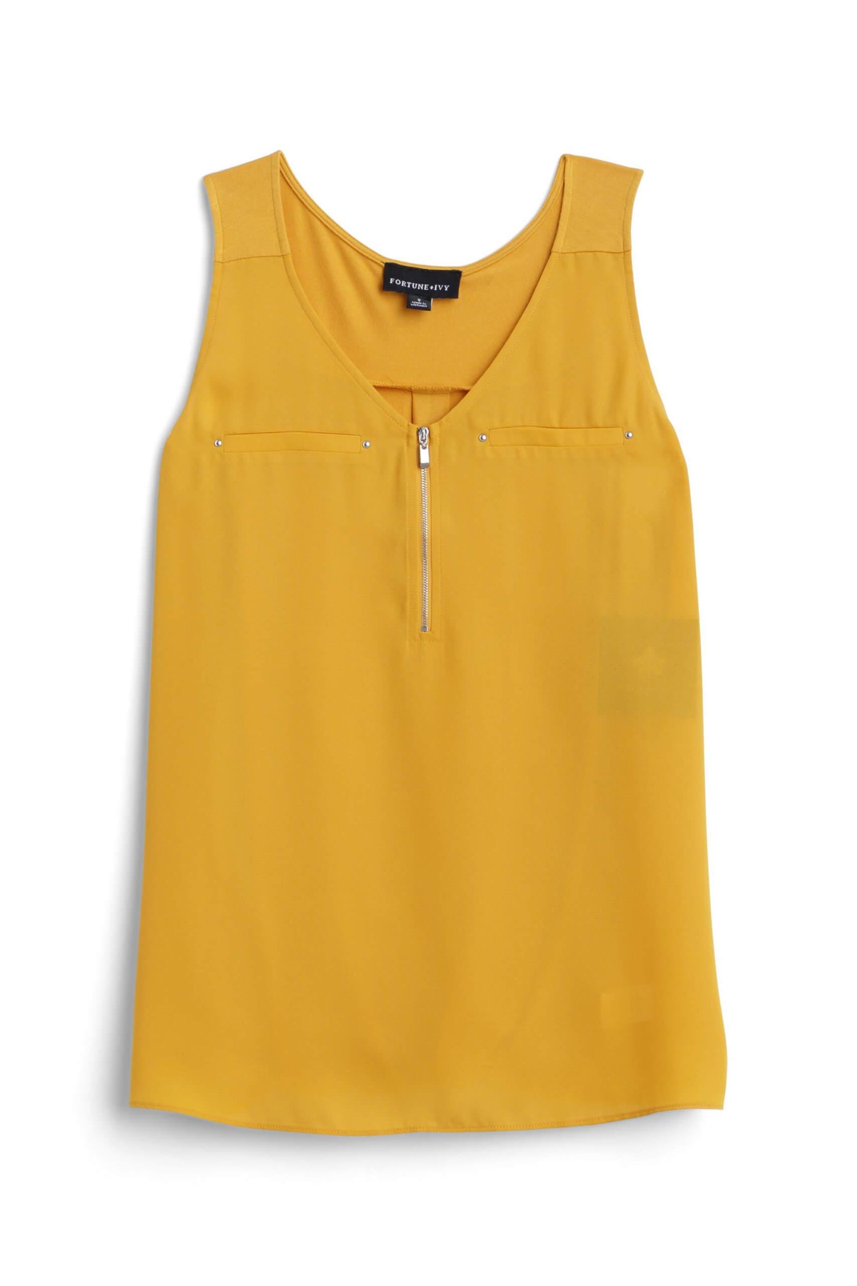 Stitch Fix Women's mustard zipper detail blouse.