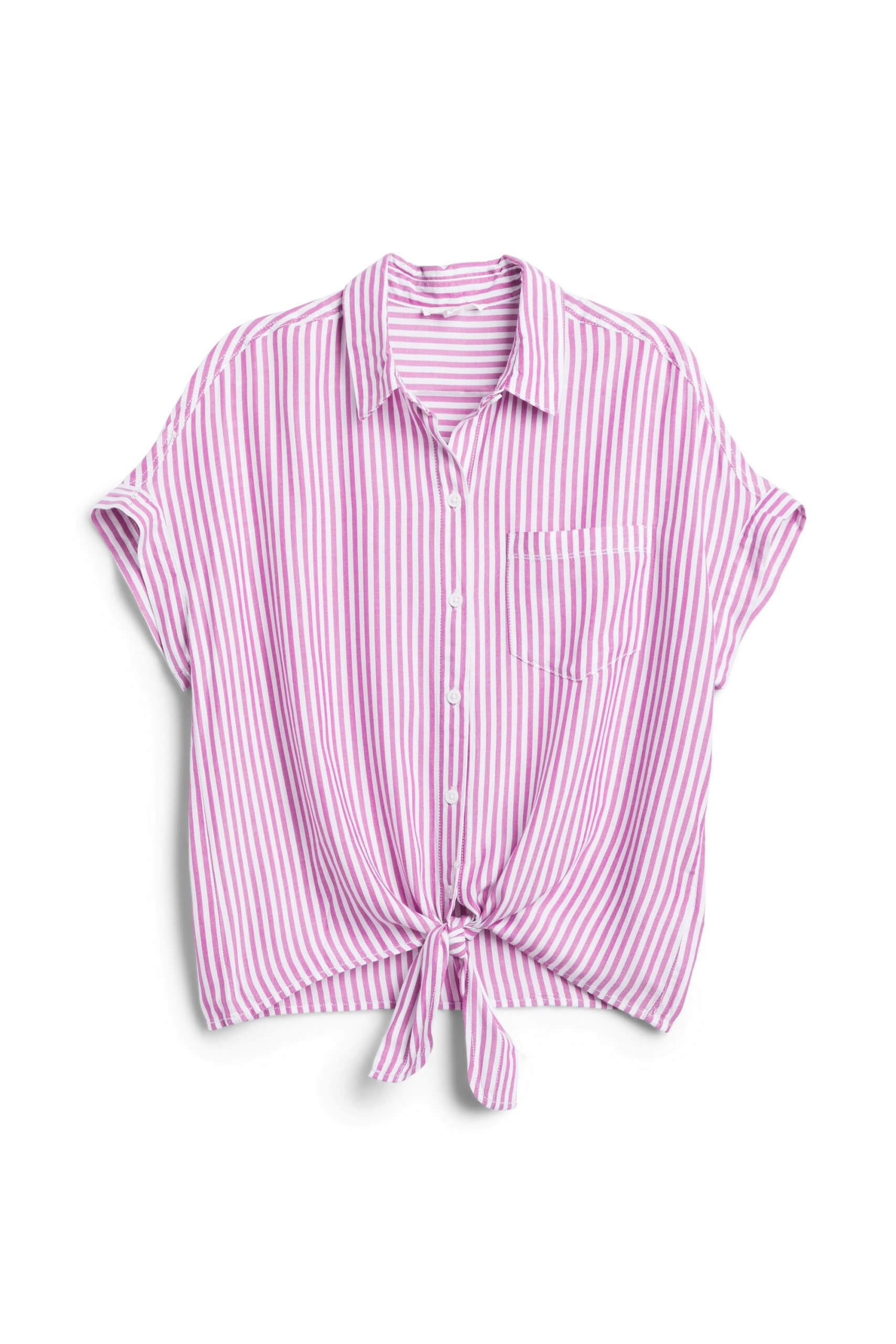 Stitch Fix Women's pink and white striped button-down shirt with tie-front detail.
