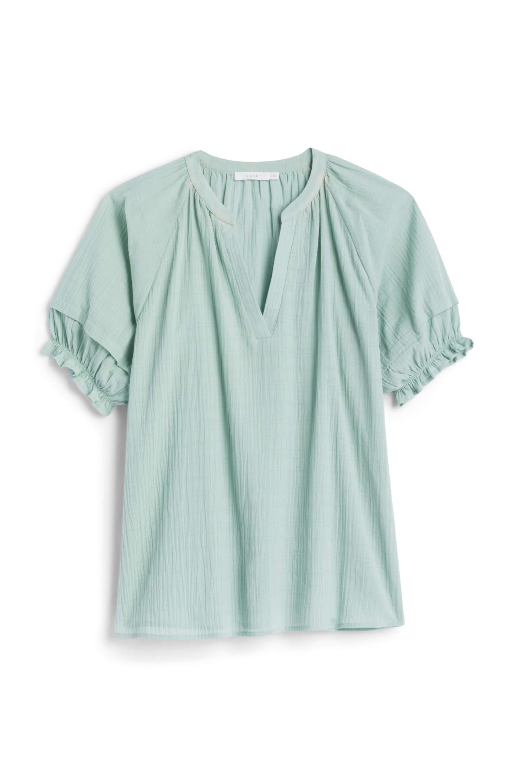 Stitch Fix Women's mint green ruffle sleeve shirt.