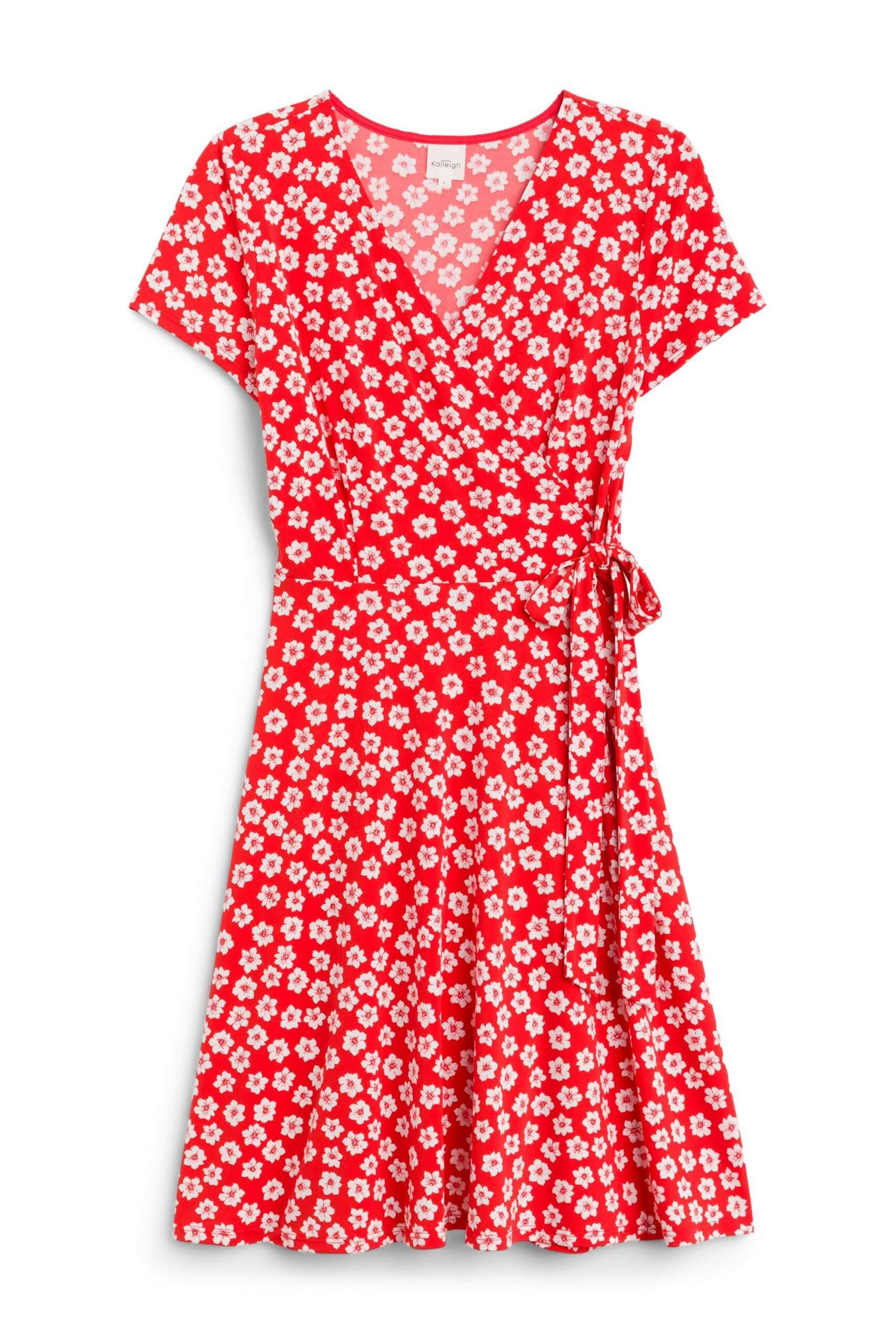 Stitch Fix Women's red floral wrap dress.