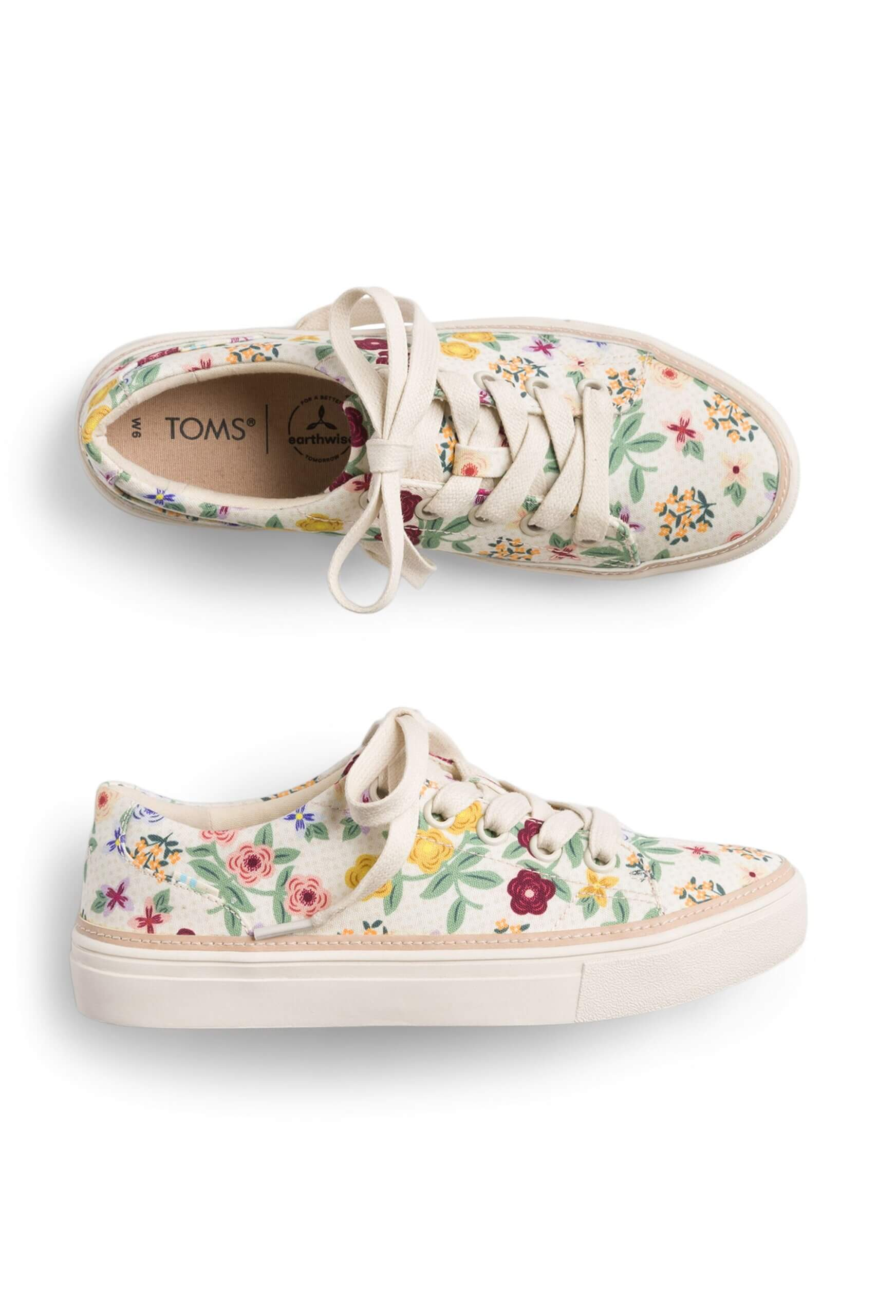 Stitch Fix Women's white sneakers with floral print.