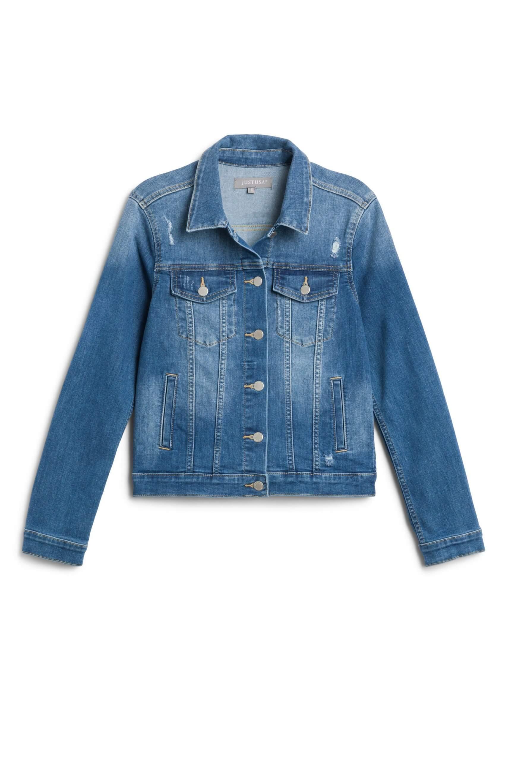 Stitch Fix women's blue denim jacket.
