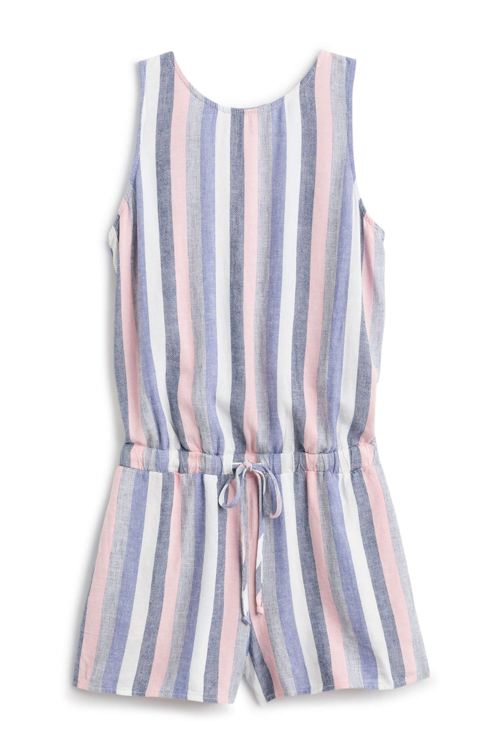 Stitch Fix Women's pink, blue and white striped romper with a drawstring waist.
