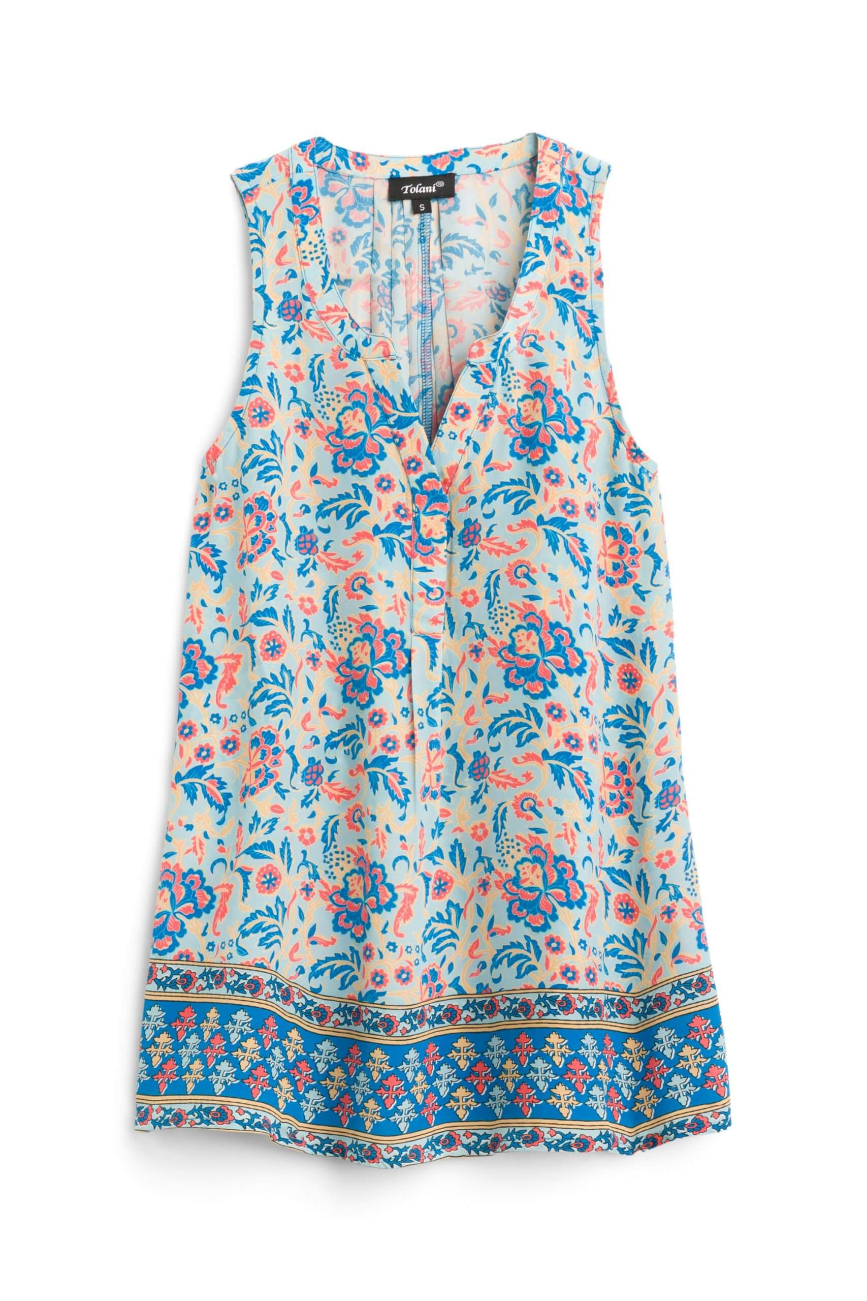 Stitch Fix Women's white, blue and pink printed silk blouse.