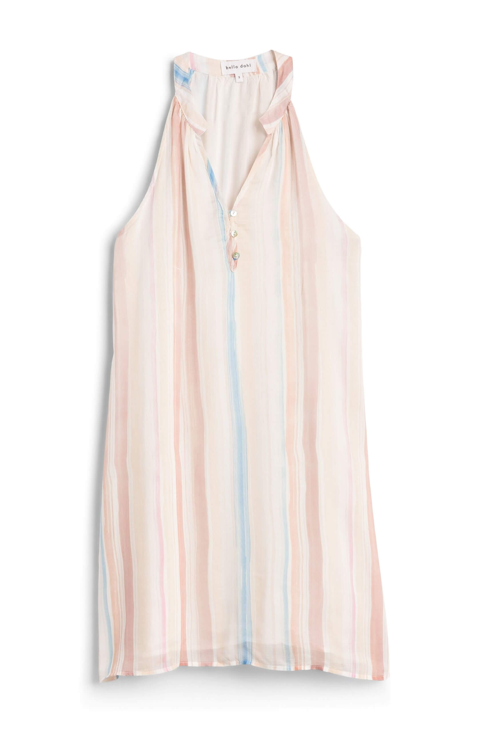 Stitch Fix women's white shift dress with pastel-colored stripes.