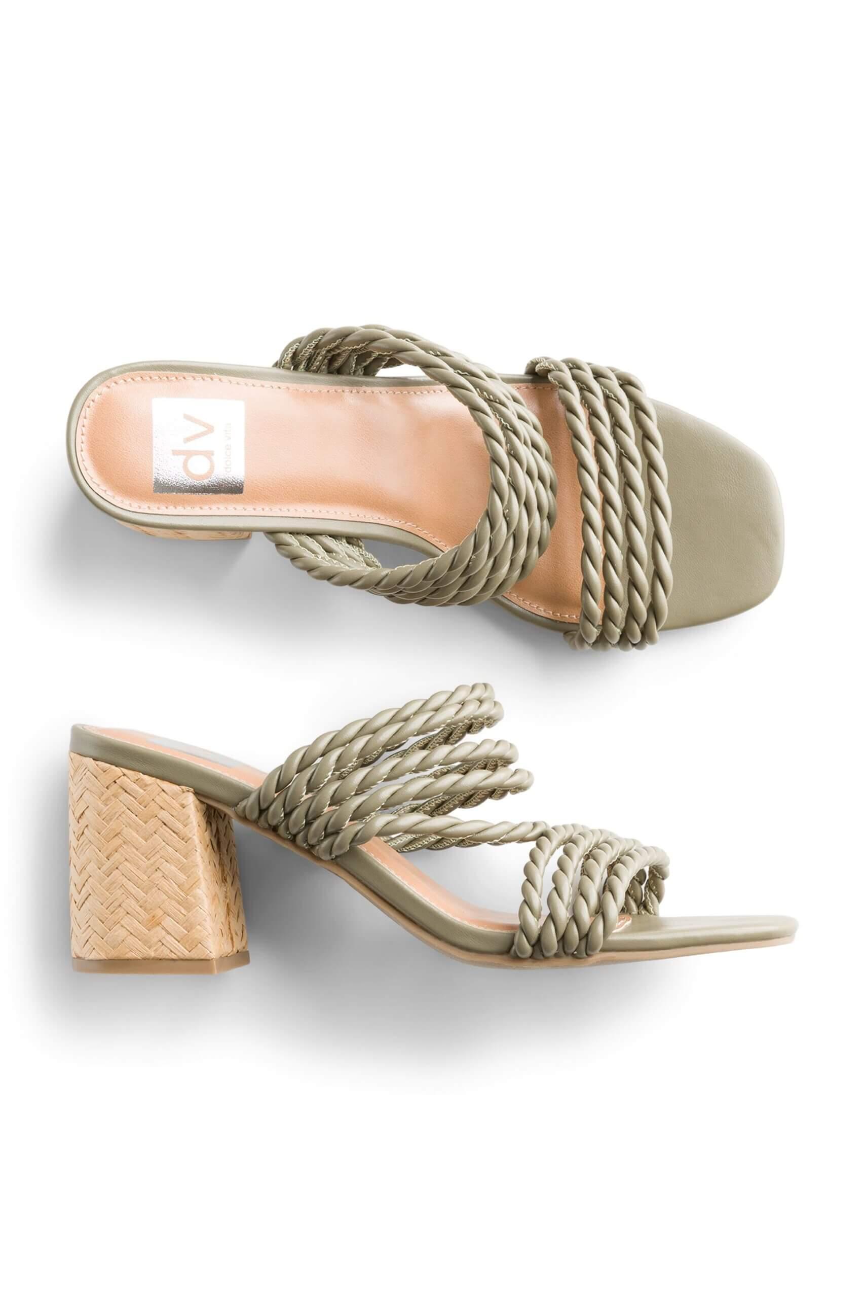 Stitch Fix women's olive green block heel sandals.
