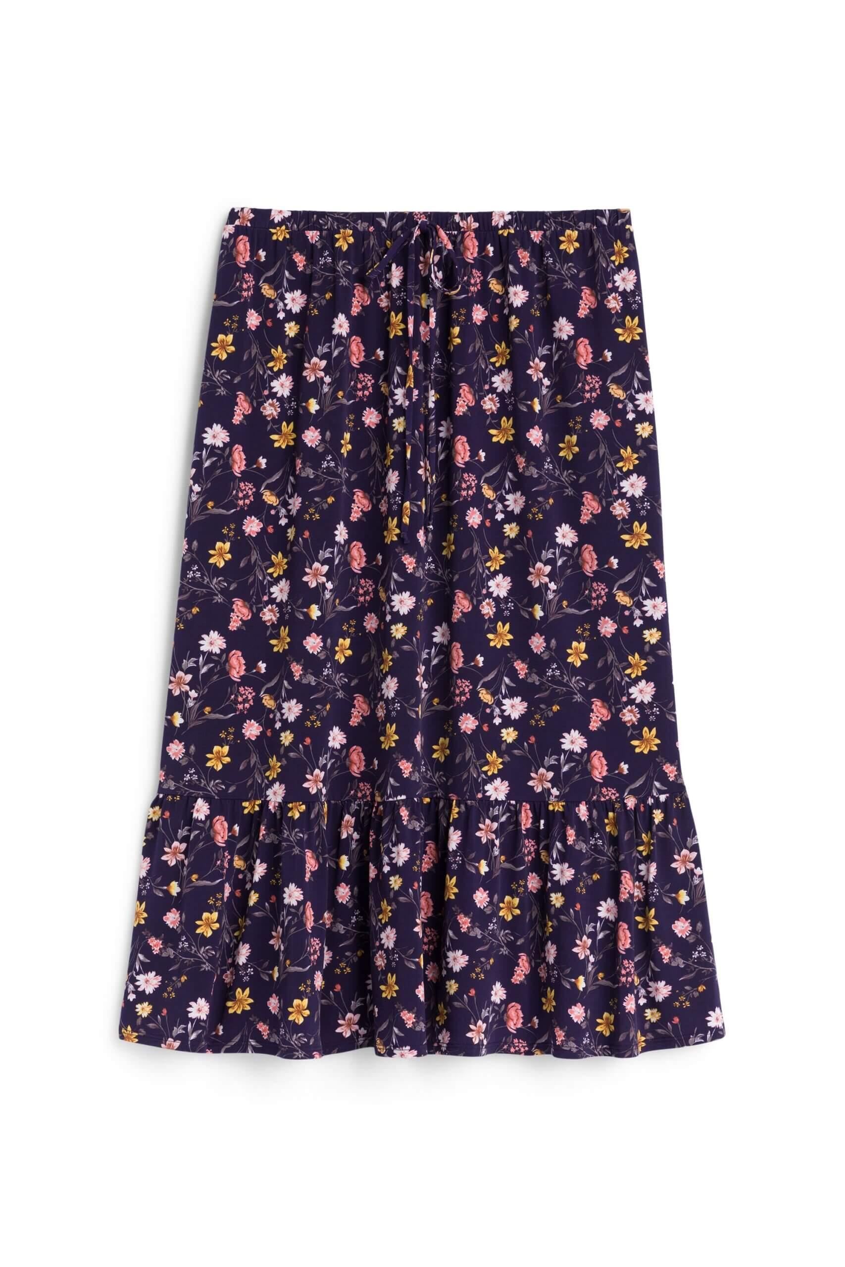 Stitch Fix women's purple boho tiered maxi skirt with dainty floral print.