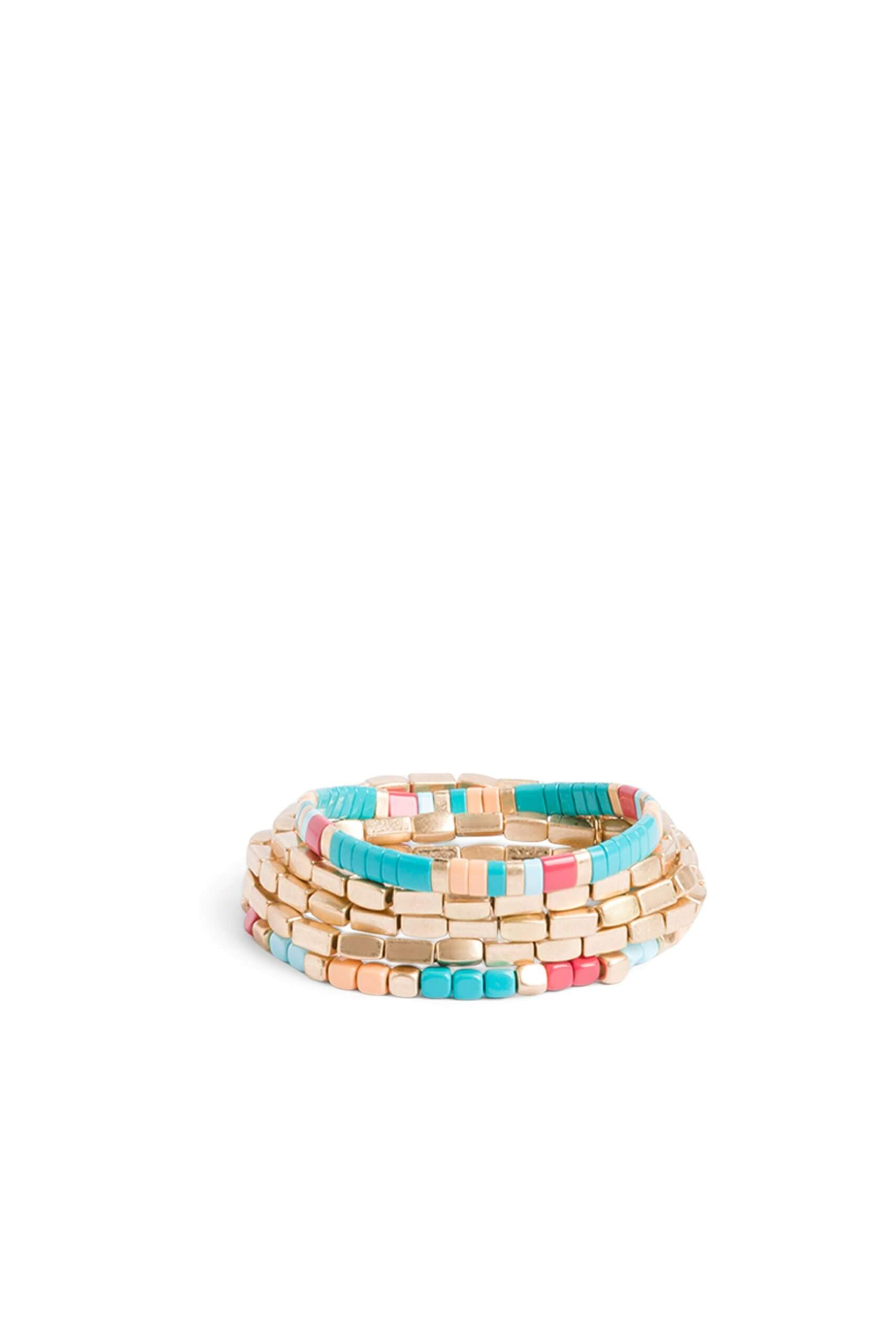 Stitch Fix women's five strand mixed material bracelet in gold, pink and turquoise.
