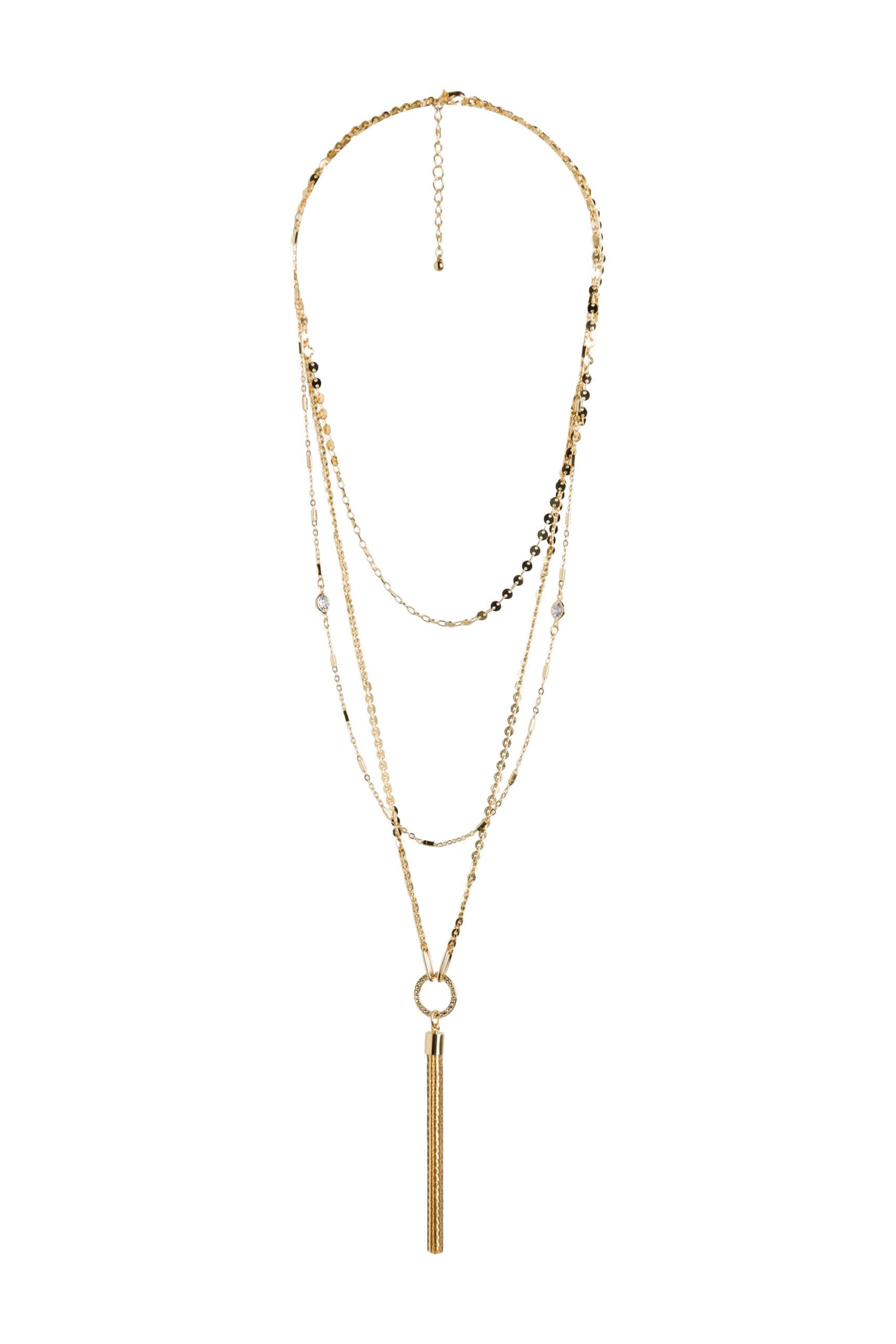 Stitch Fix women's gold tassel necklace.