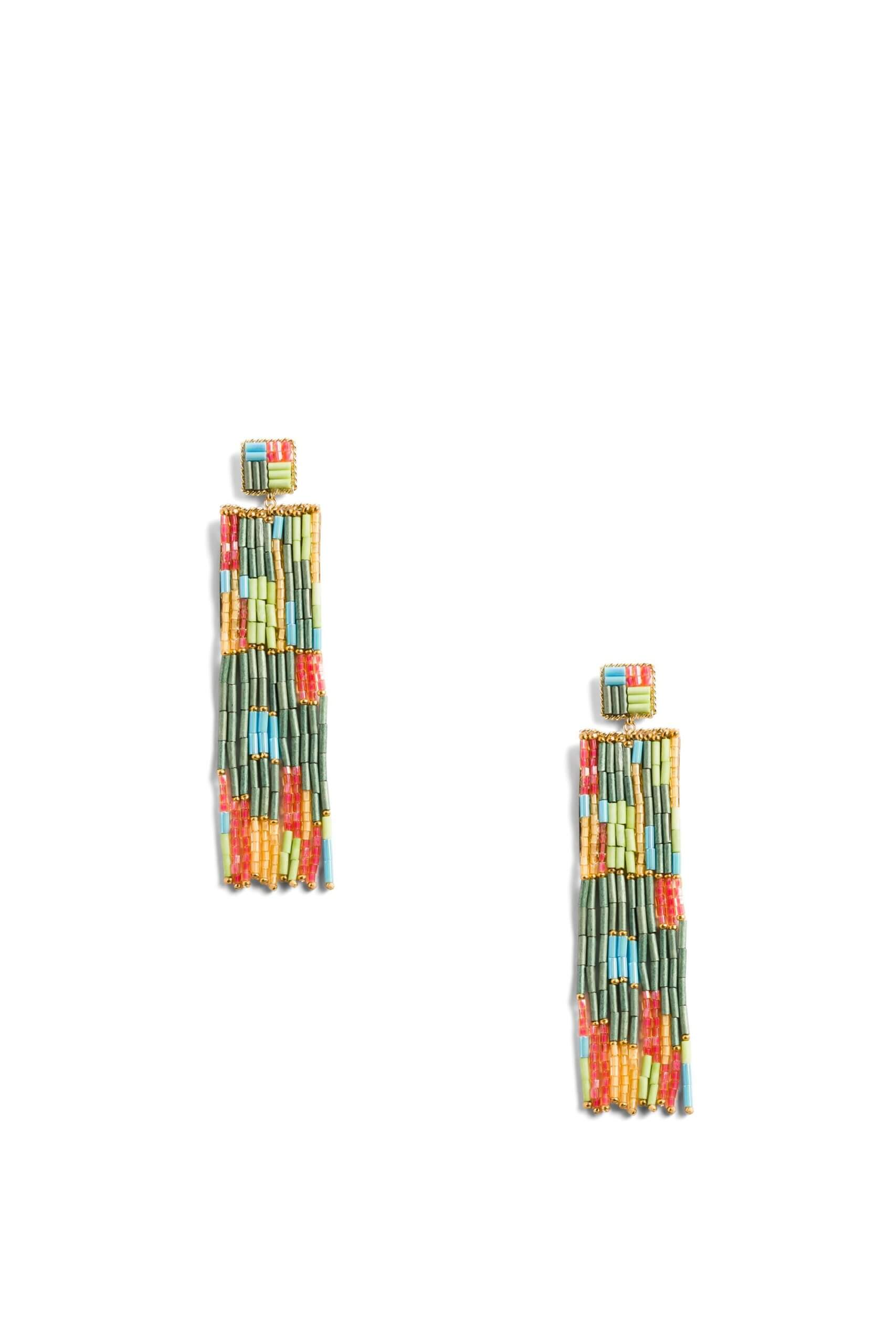 Stitch Fix women's beaded fringe earrings in green, yellow, turquoise and orange.