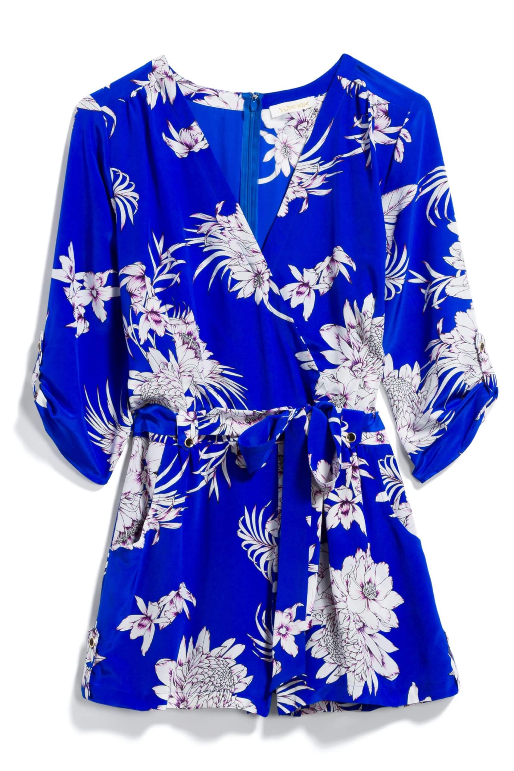 Stitch Fix Women's bright blue floral romper.